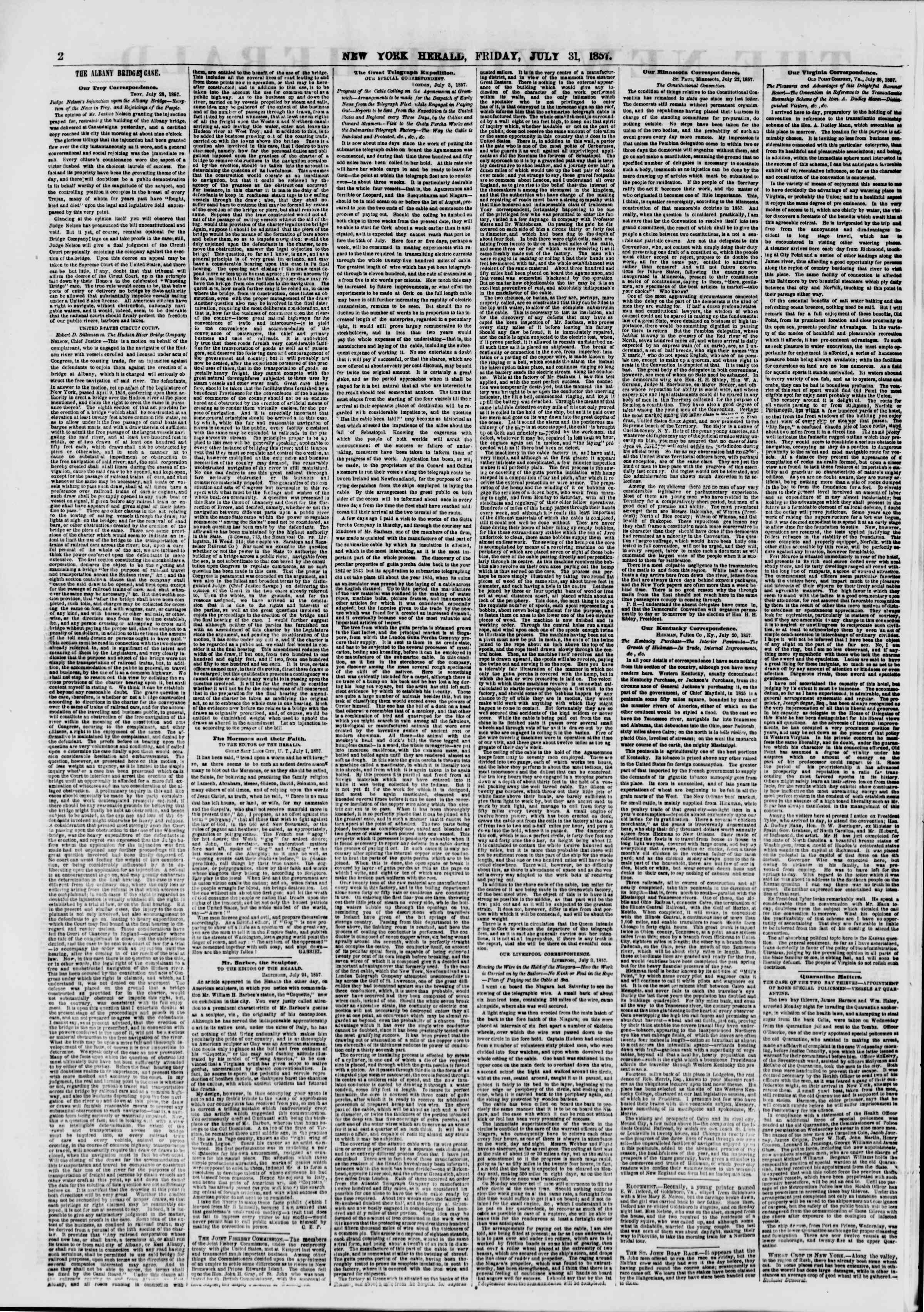 Newspaper of The New York Herald dated July 31, 1857 Page 2