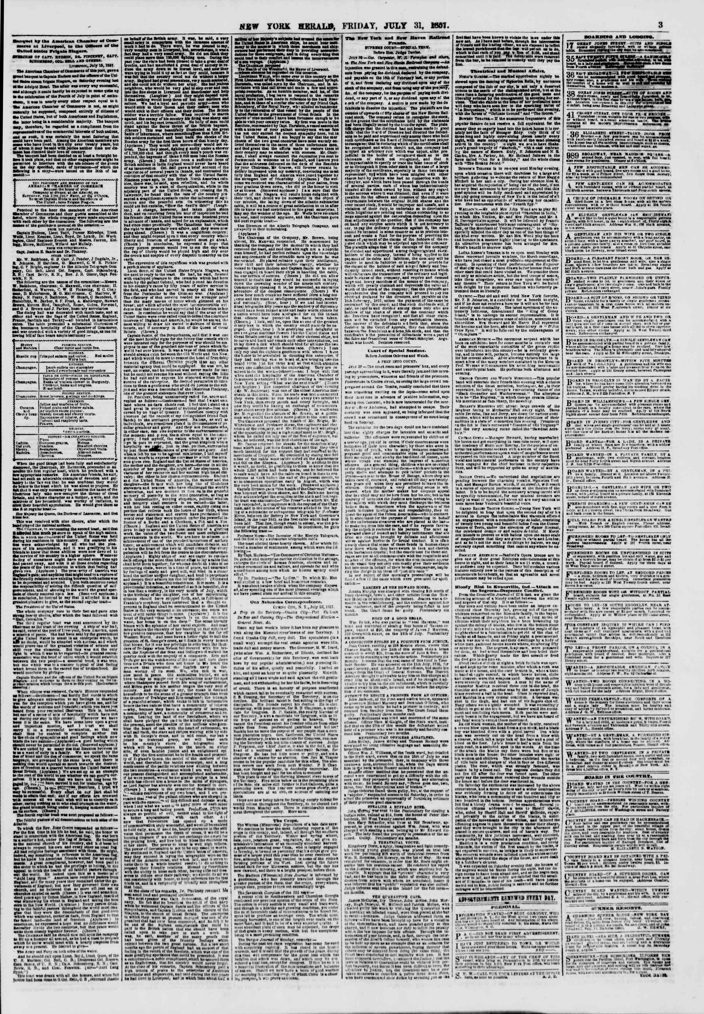 Newspaper of The New York Herald dated July 31, 1857 Page 3