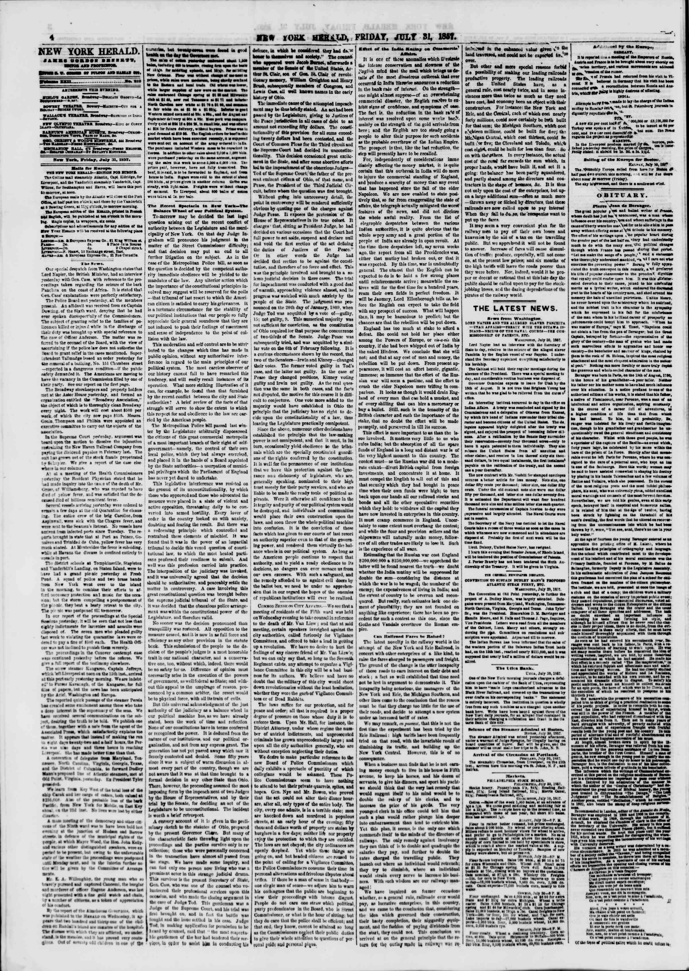 Newspaper of The New York Herald dated July 31, 1857 Page 4