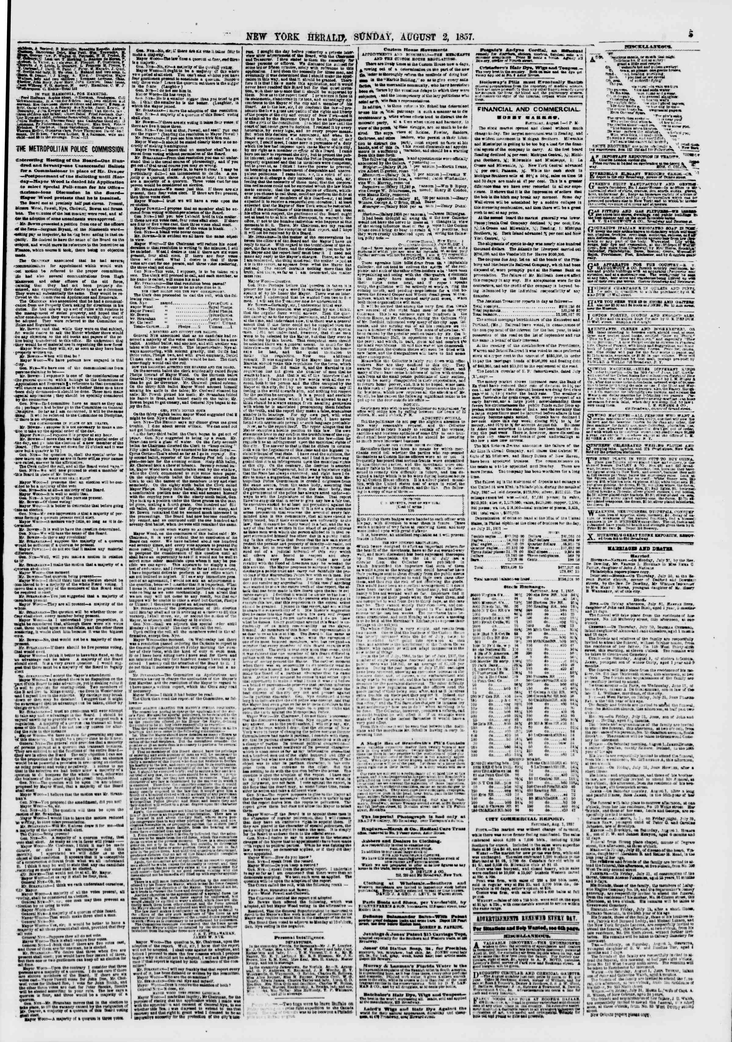 Newspaper of The New York Herald dated August 2, 1857 Page 5