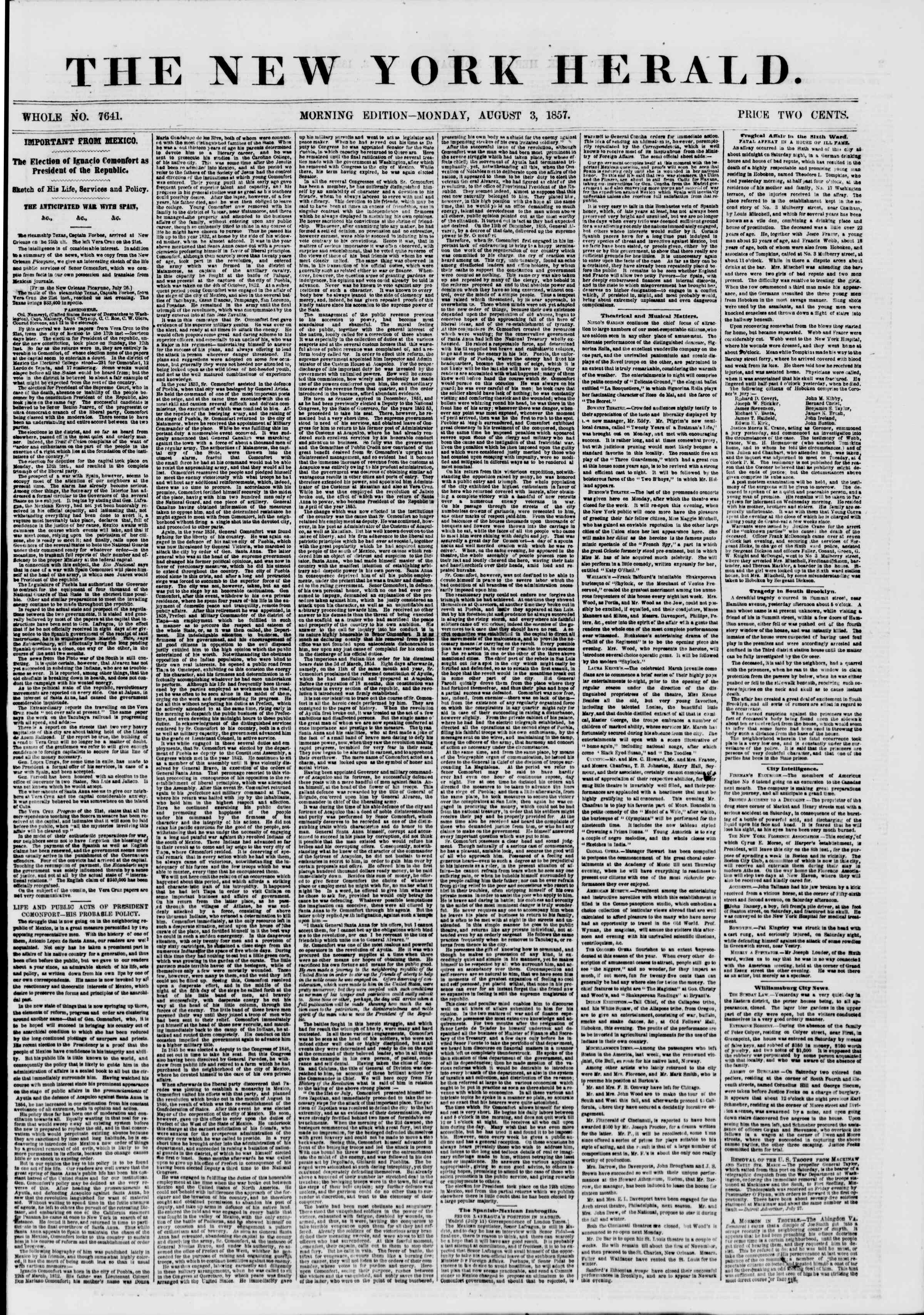 Newspaper of The New York Herald dated August 3, 1857 Page 1