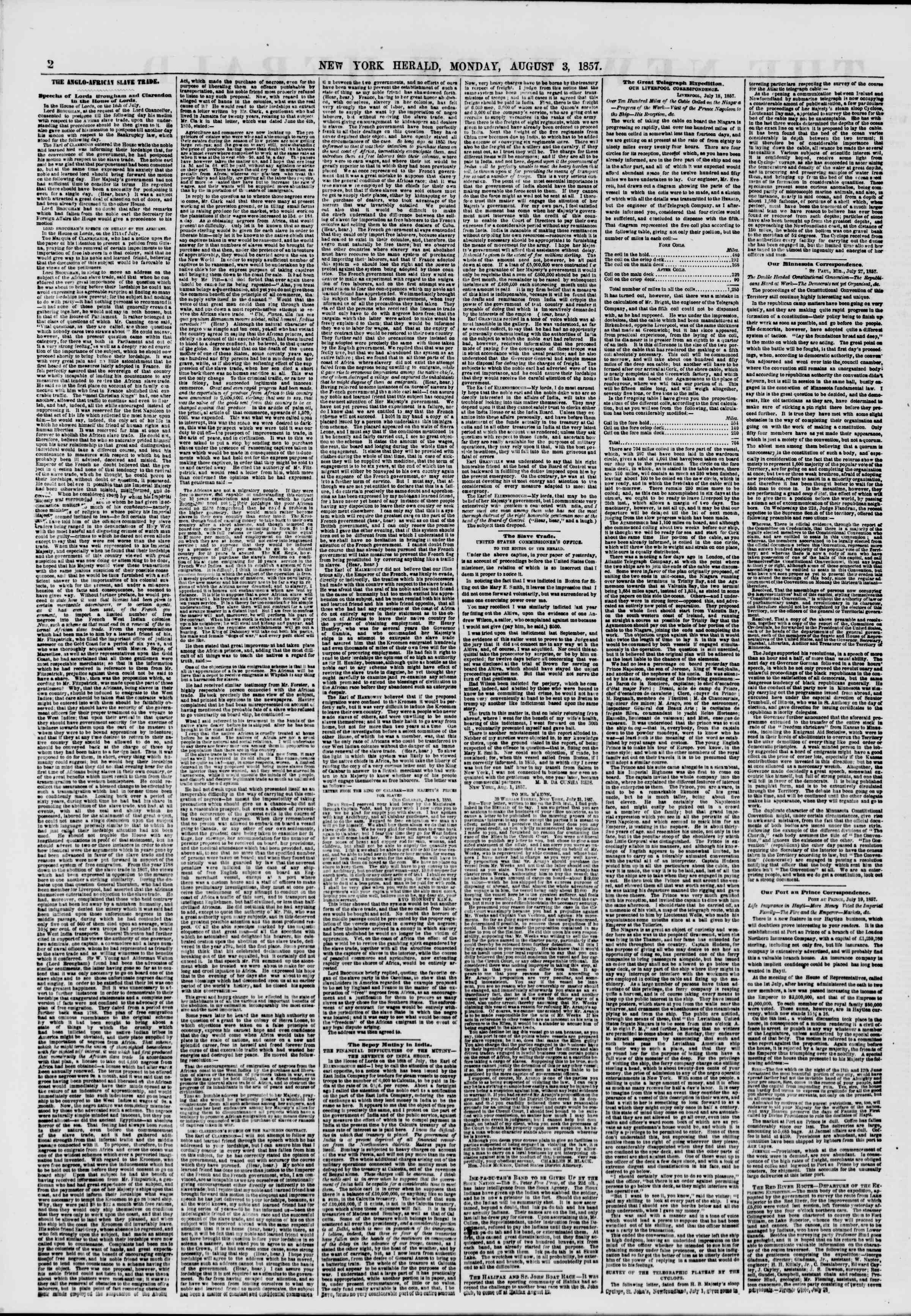 Newspaper of The New York Herald dated August 3, 1857 Page 2