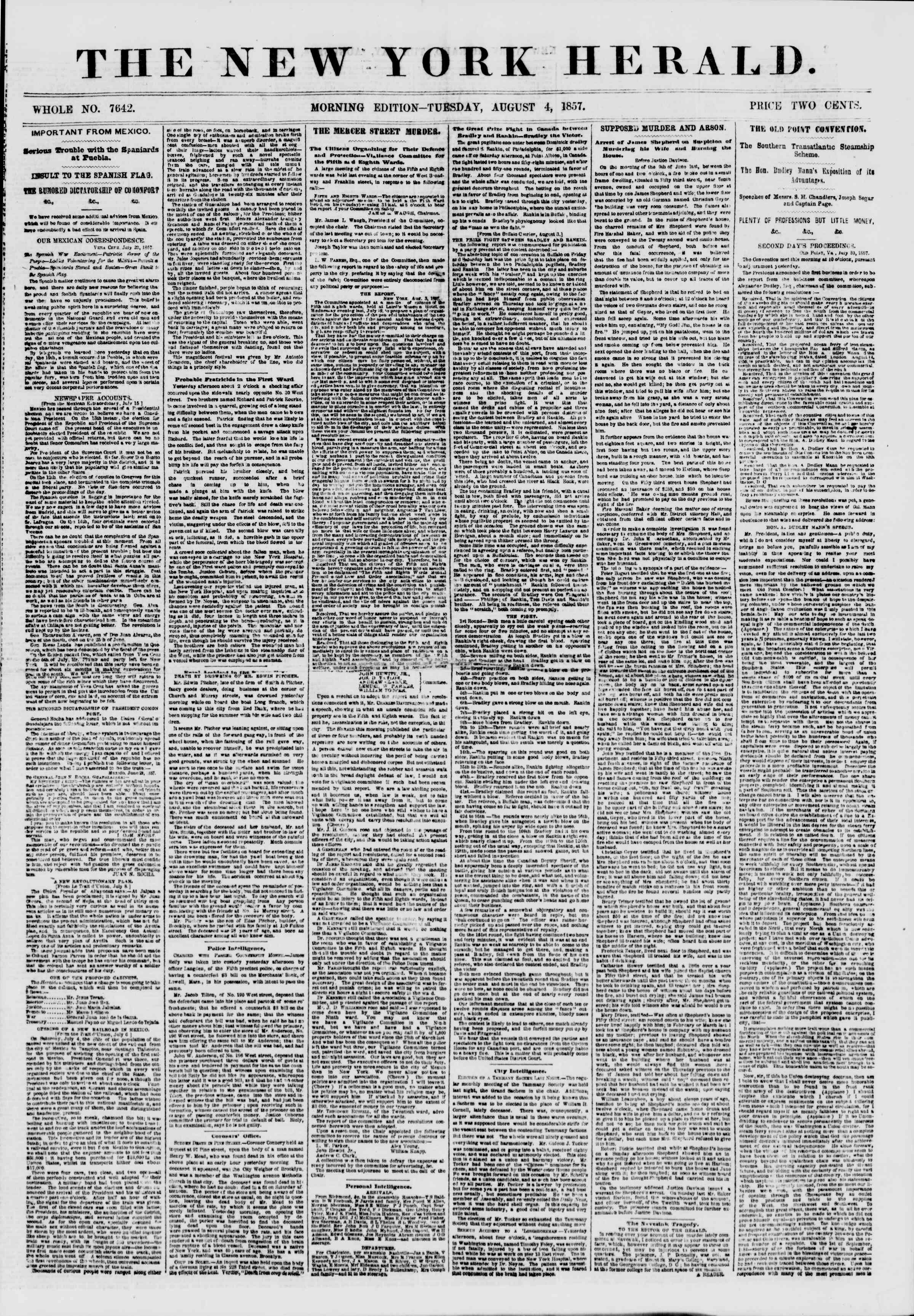 Newspaper of The New York Herald dated August 4, 1857 Page 1