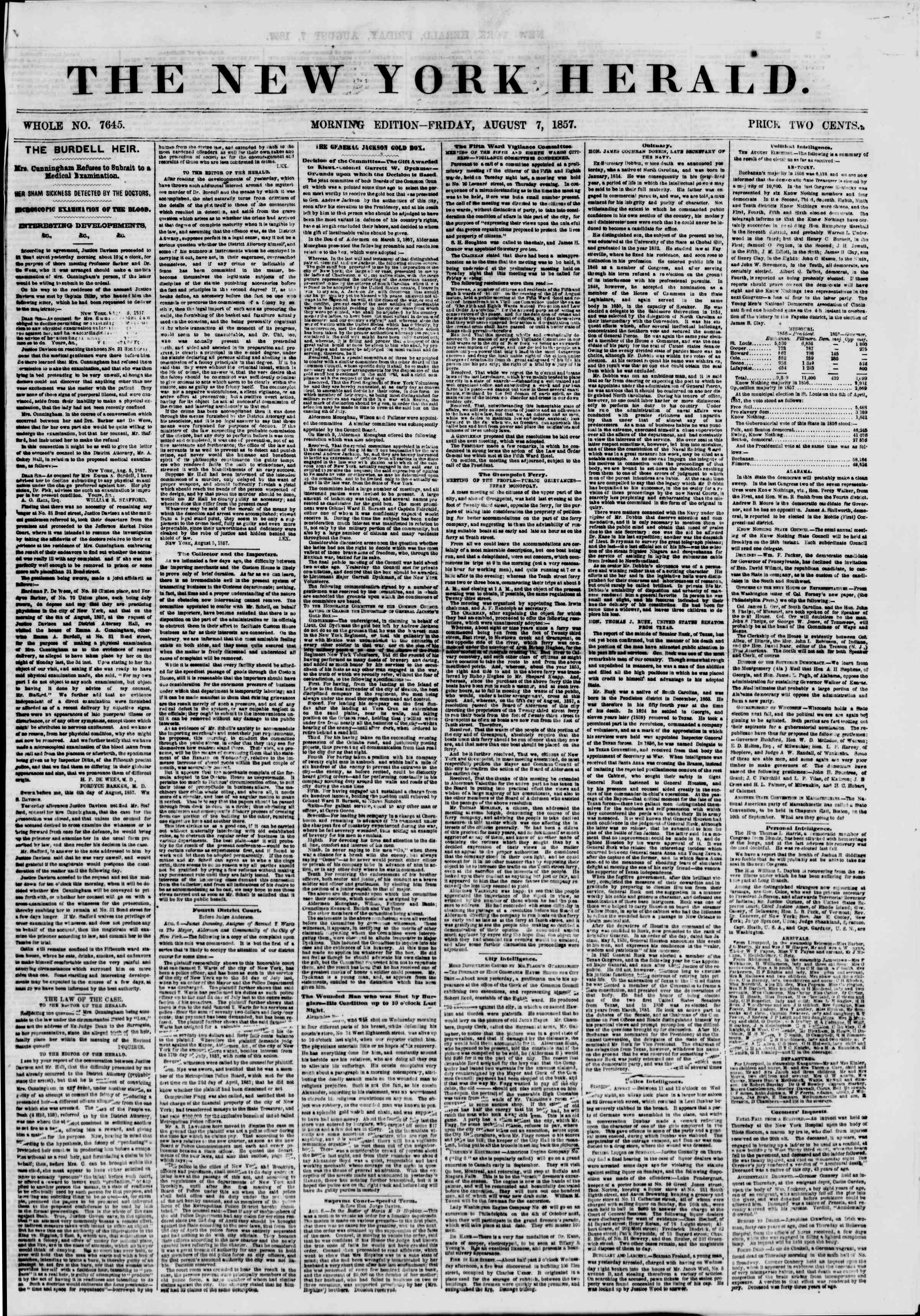 Newspaper of The New York Herald dated August 7, 1857 Page 1