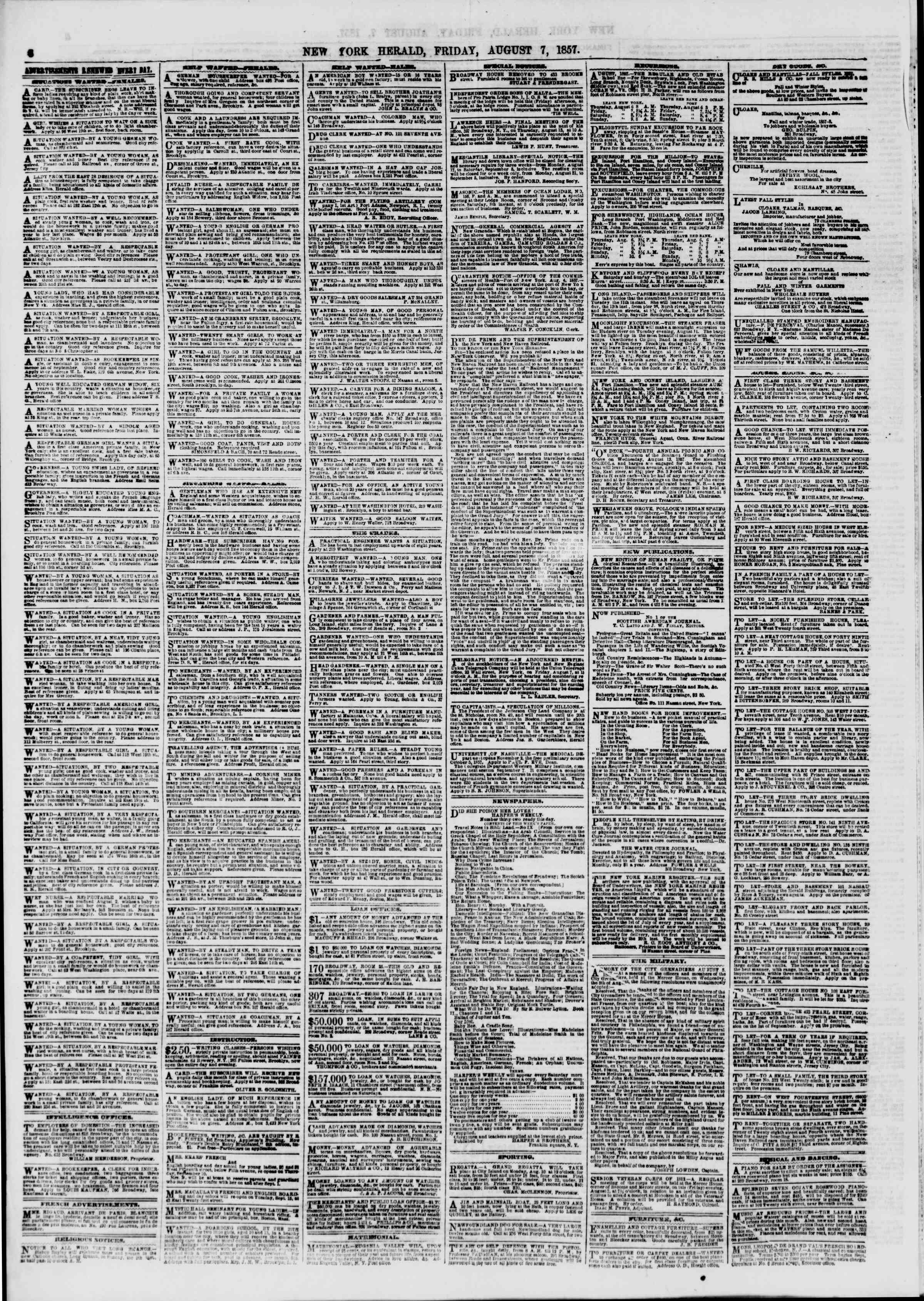 Newspaper of The New York Herald dated August 7, 1857 Page 6