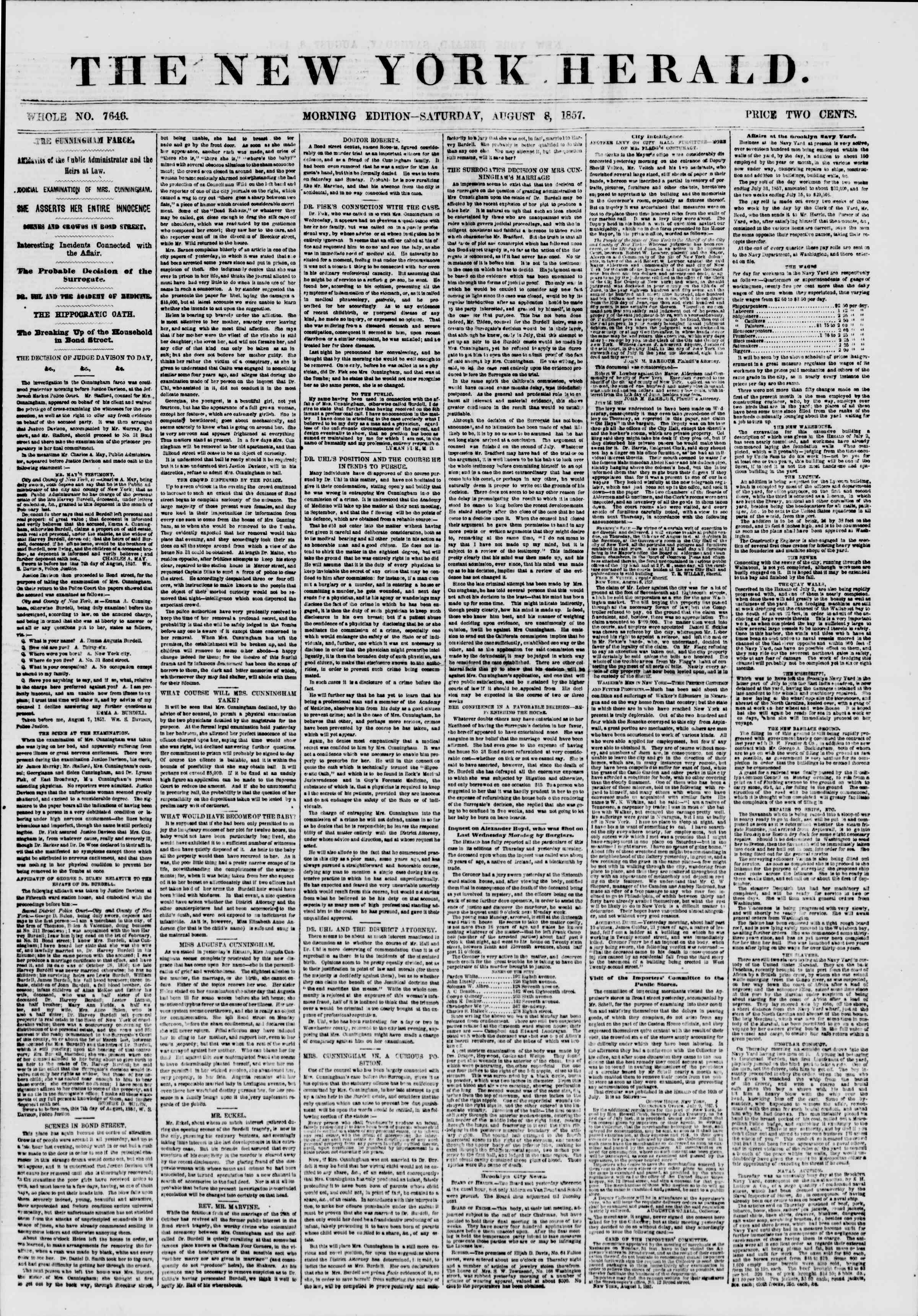 Newspaper of The New York Herald dated August 8, 1857 Page 1
