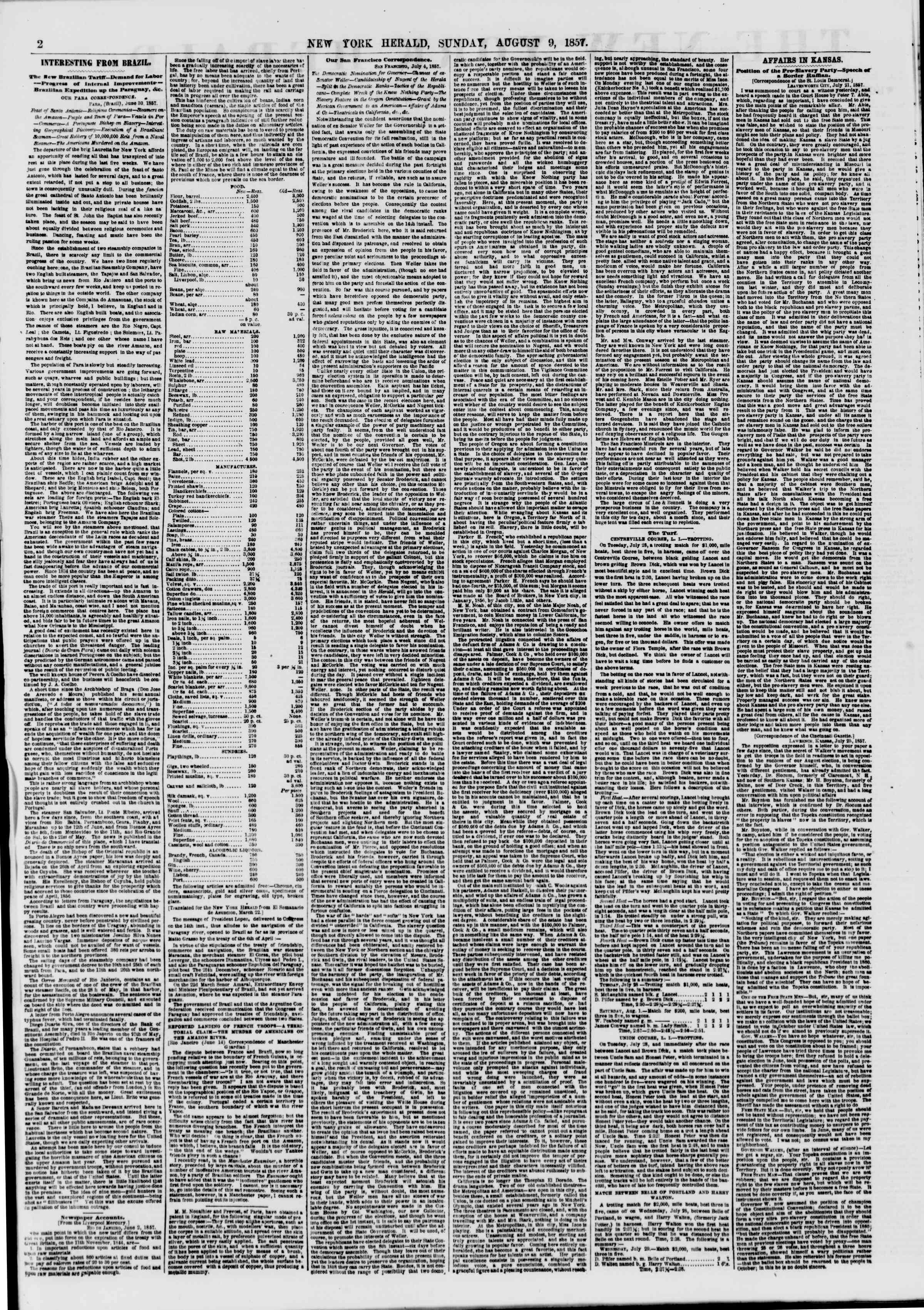 Newspaper of The New York Herald dated August 9, 1857 Page 2