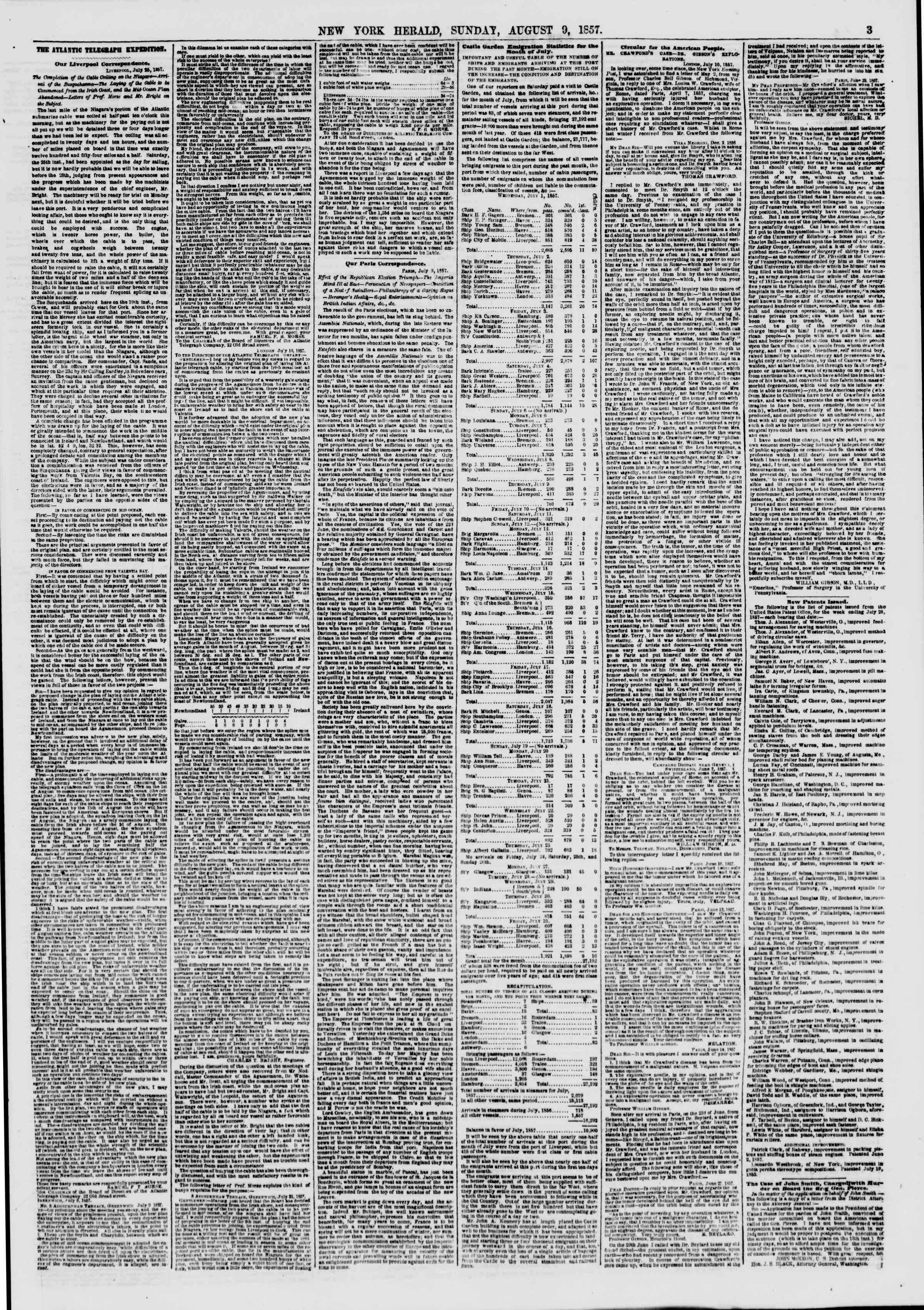 Newspaper of The New York Herald dated August 9, 1857 Page 3