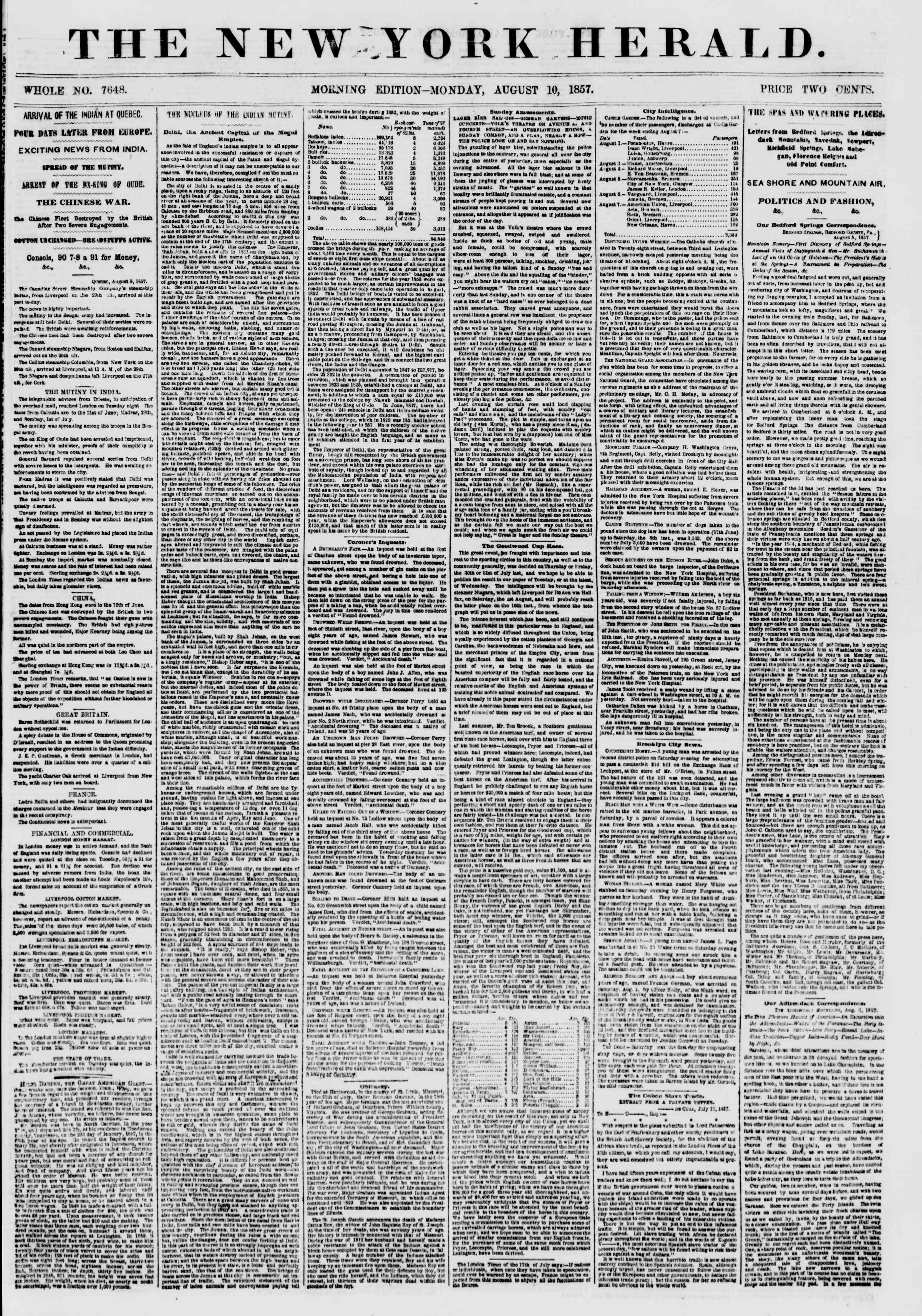 Newspaper of The New York Herald dated August 10, 1857 Page 1