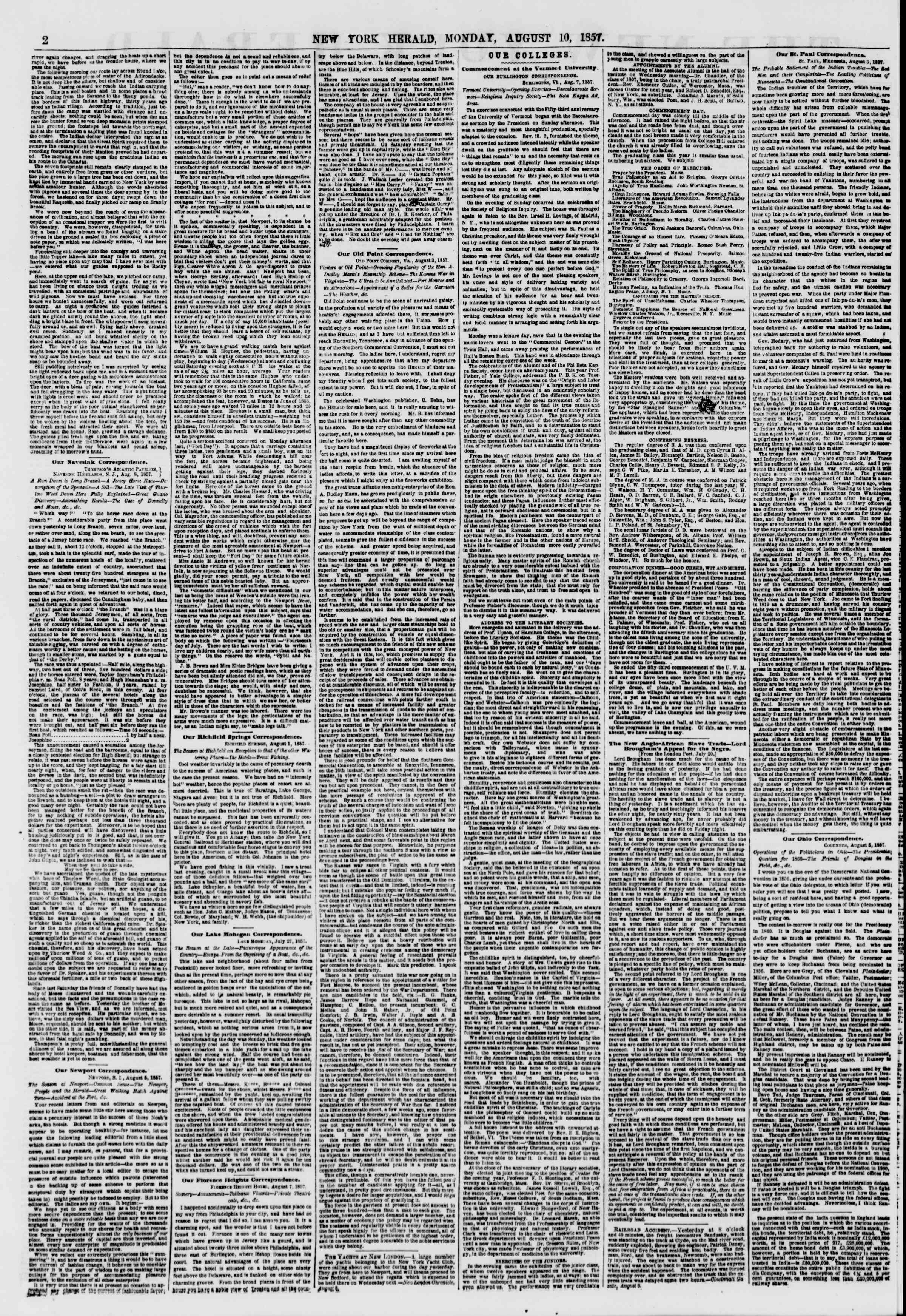 Newspaper of The New York Herald dated August 10, 1857 Page 2