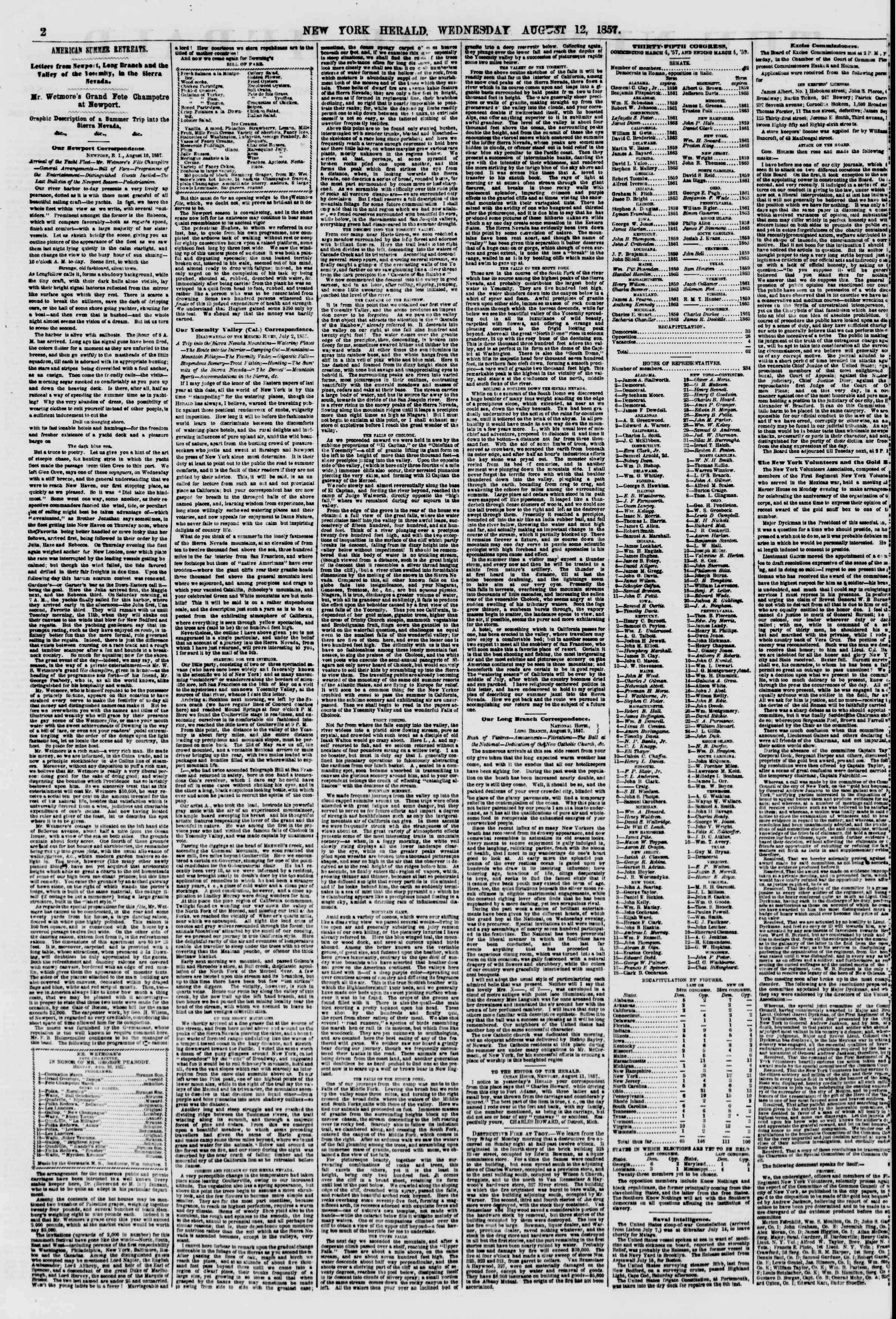 Newspaper of The New York Herald dated August 12, 1857 Page 2