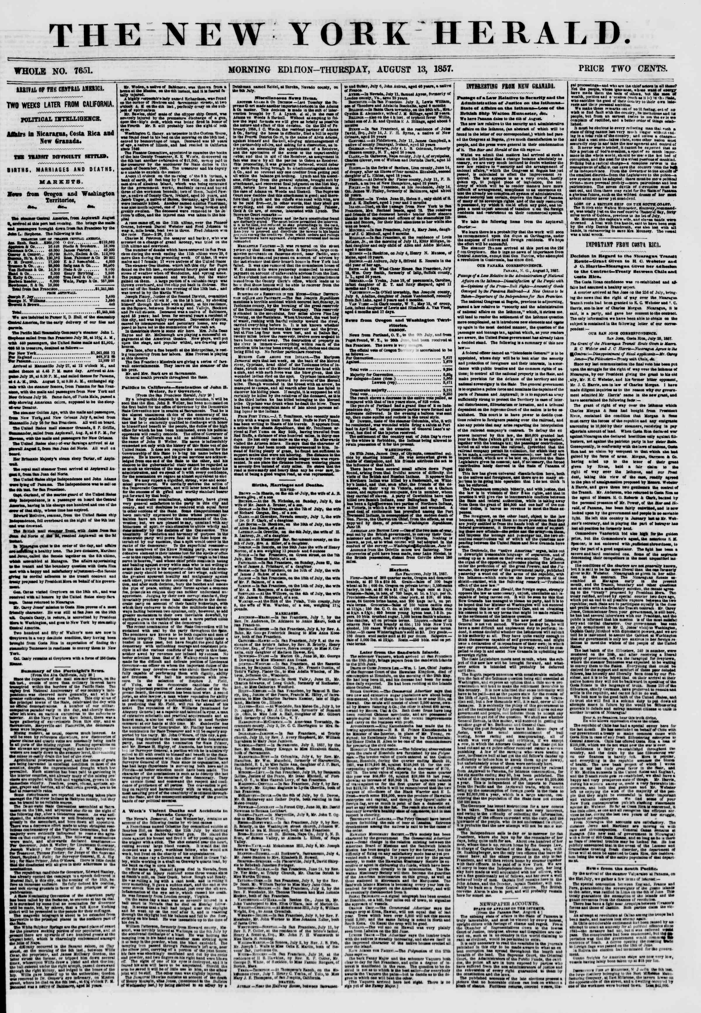 Newspaper of The New York Herald dated August 13, 1857 Page 1