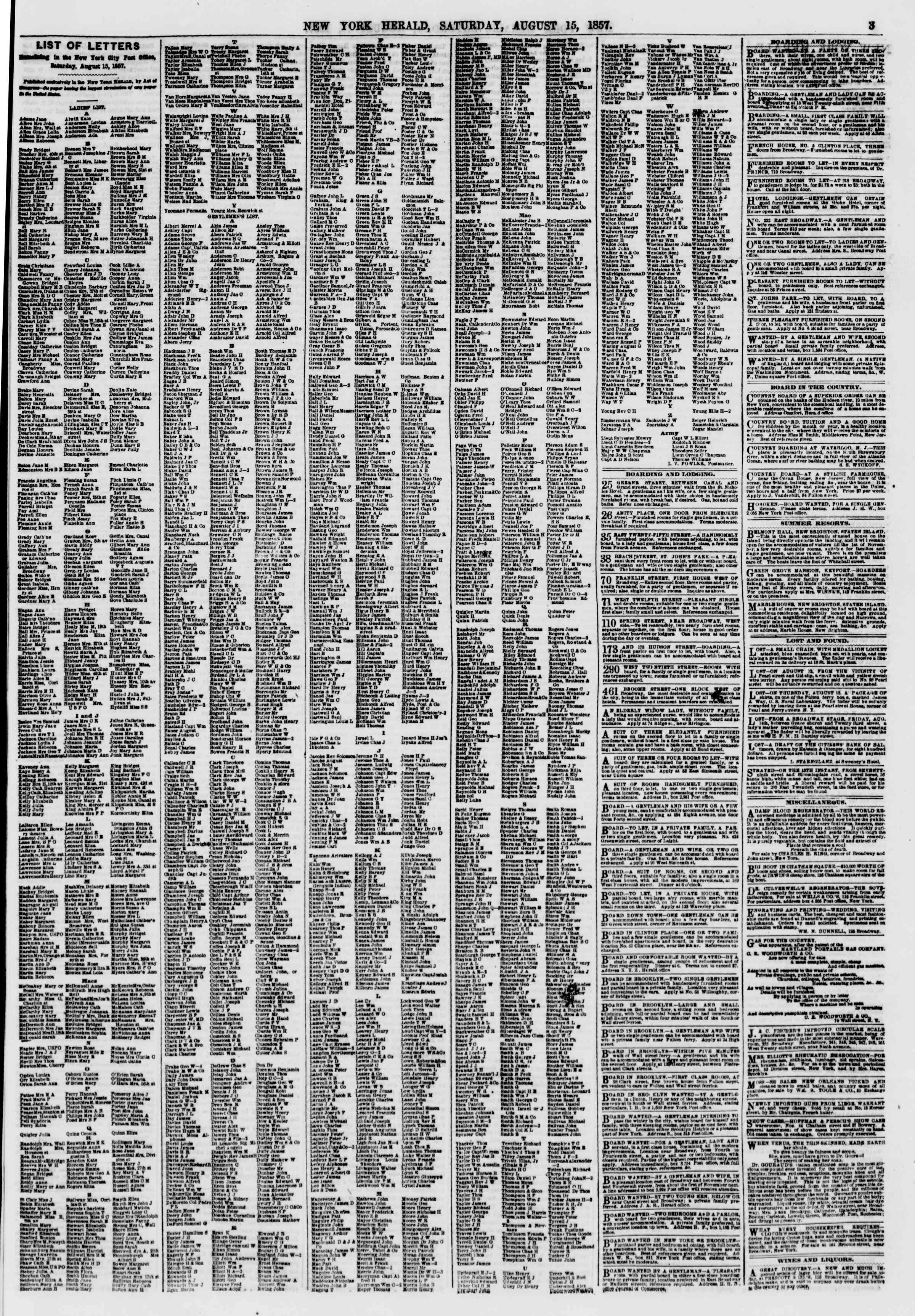 Newspaper of The New York Herald dated August 15, 1857 Page 3