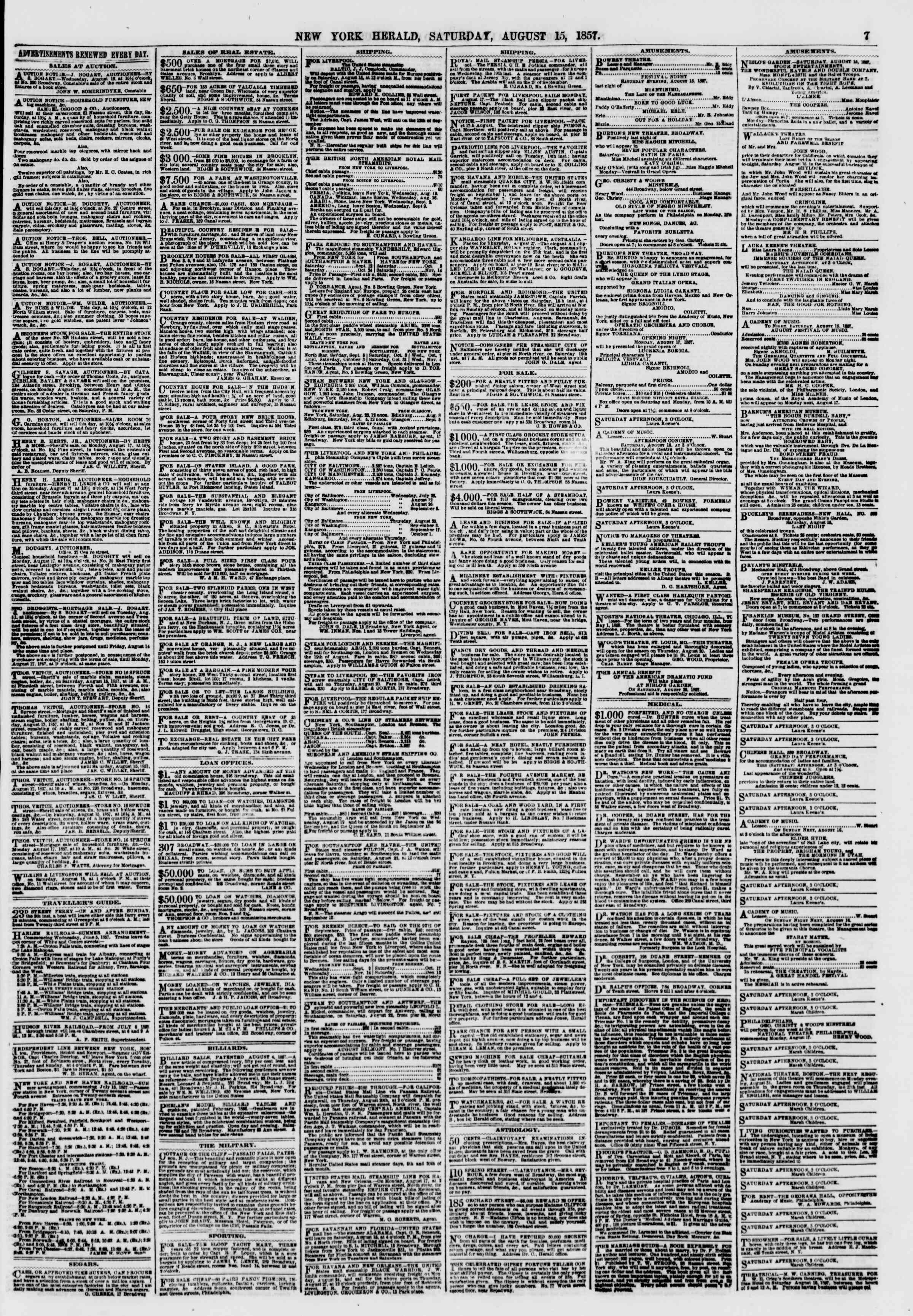 Newspaper of The New York Herald dated August 15, 1857 Page 7