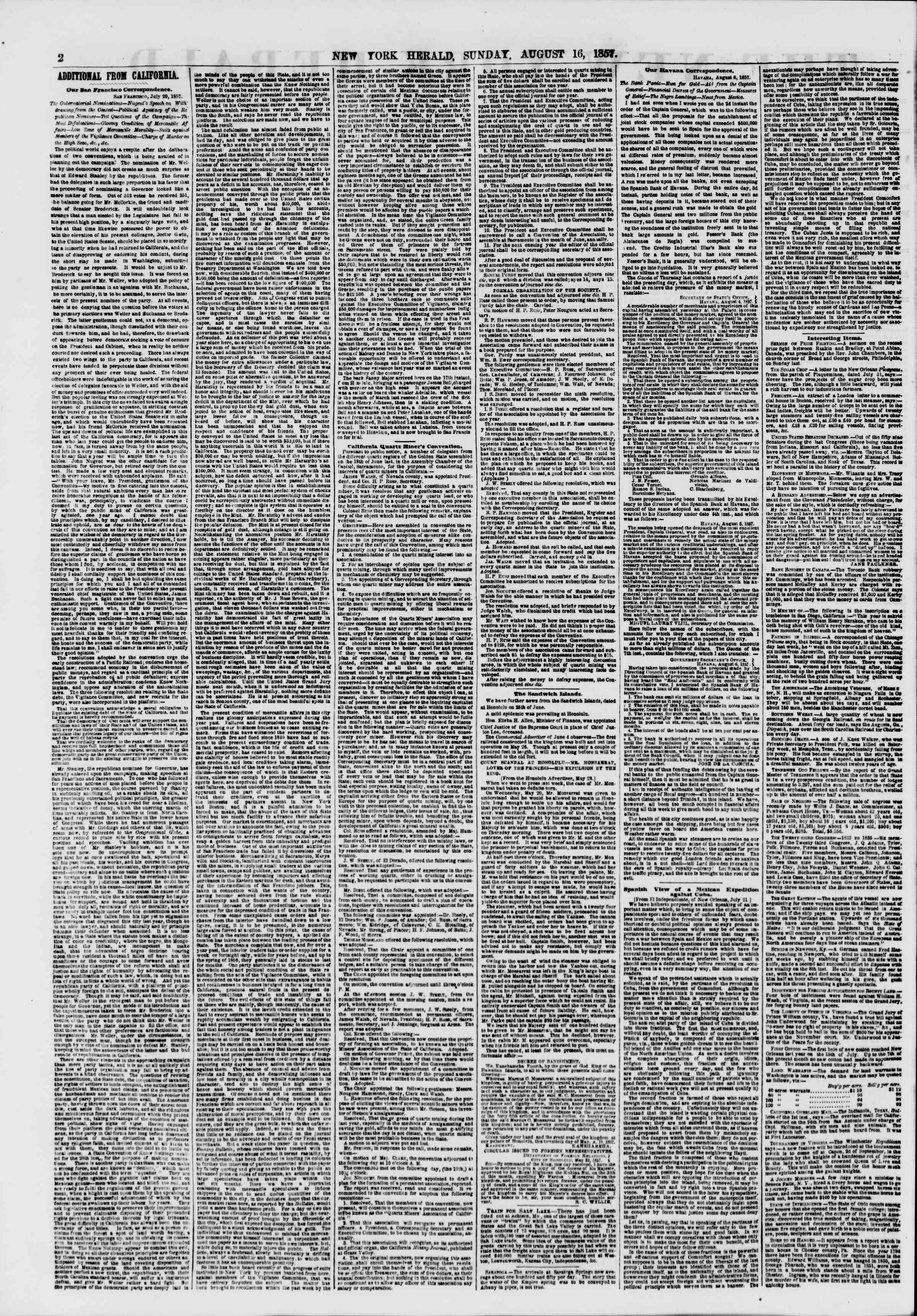 Newspaper of The New York Herald dated August 16, 1857 Page 2