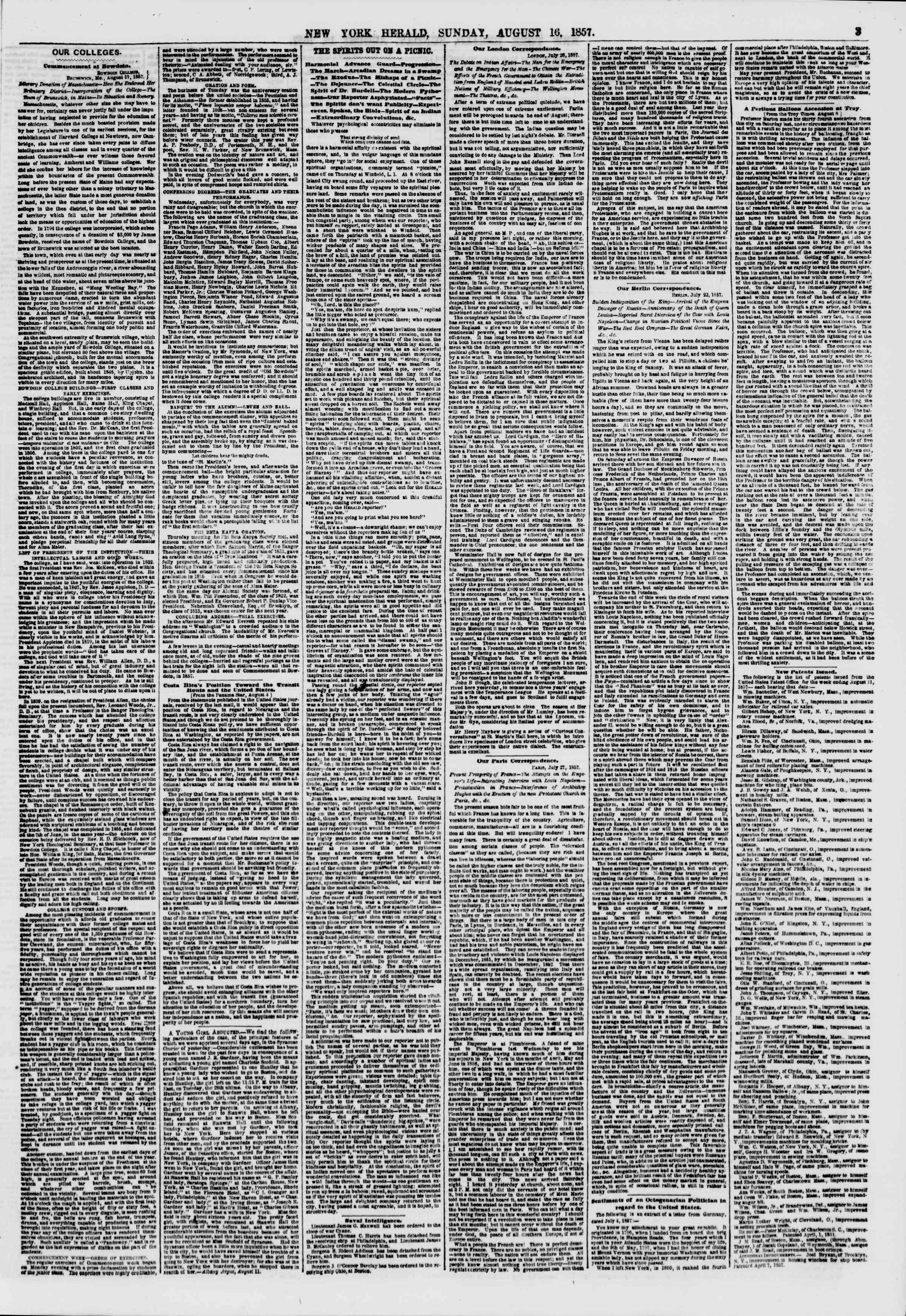 Newspaper of The New York Herald dated August 16, 1857 Page 3