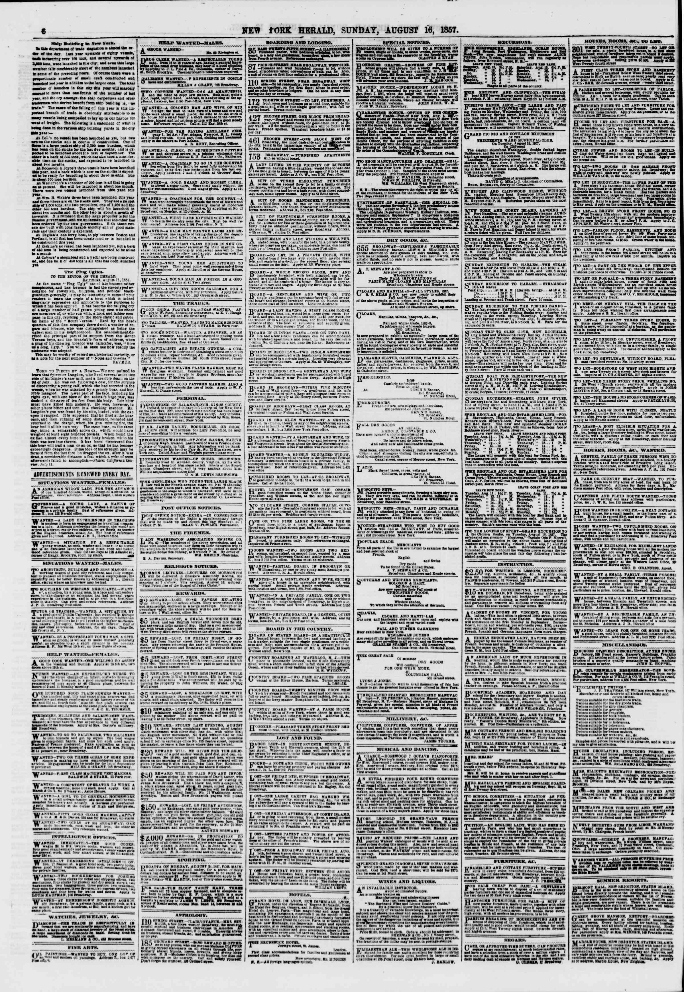 Newspaper of The New York Herald dated August 16, 1857 Page 6
