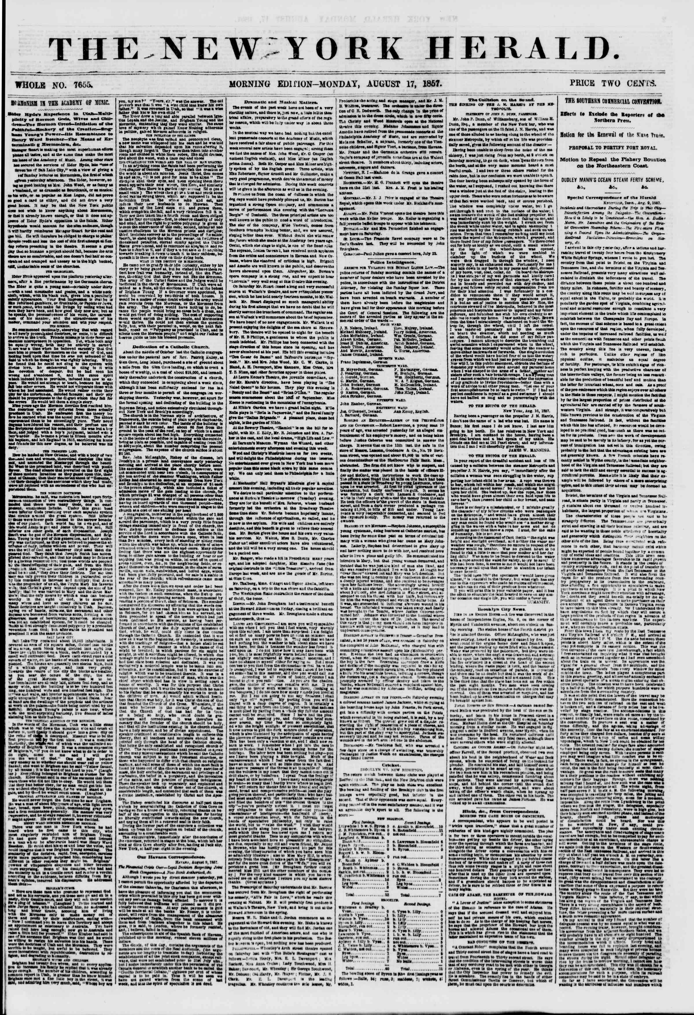 Newspaper of The New York Herald dated August 17, 1857 Page 1