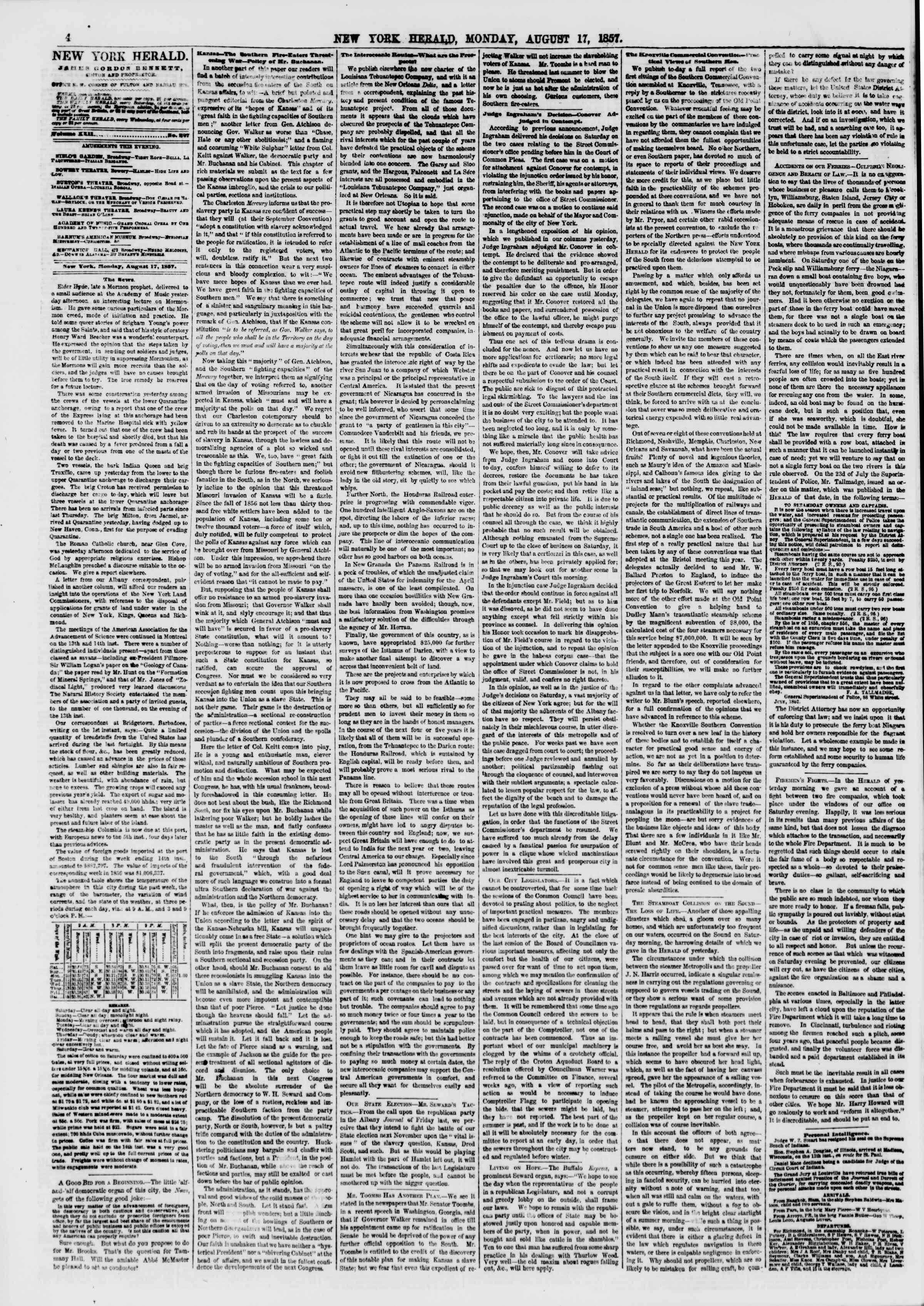 Newspaper of The New York Herald dated August 17, 1857 Page 4