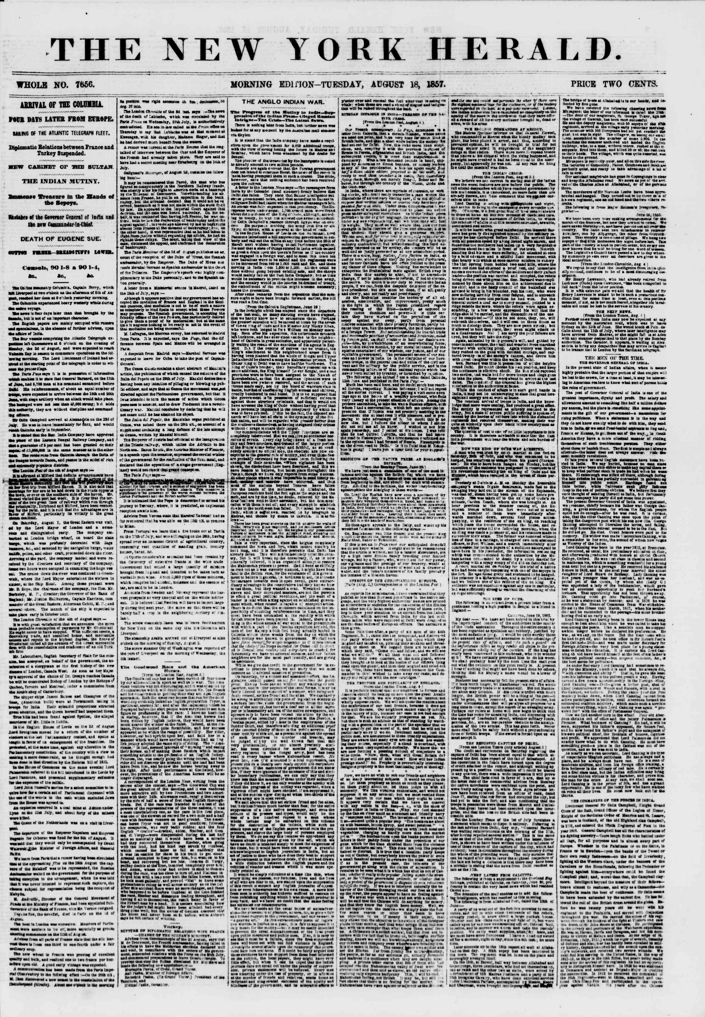 Newspaper of The New York Herald dated August 18, 1857 Page 1