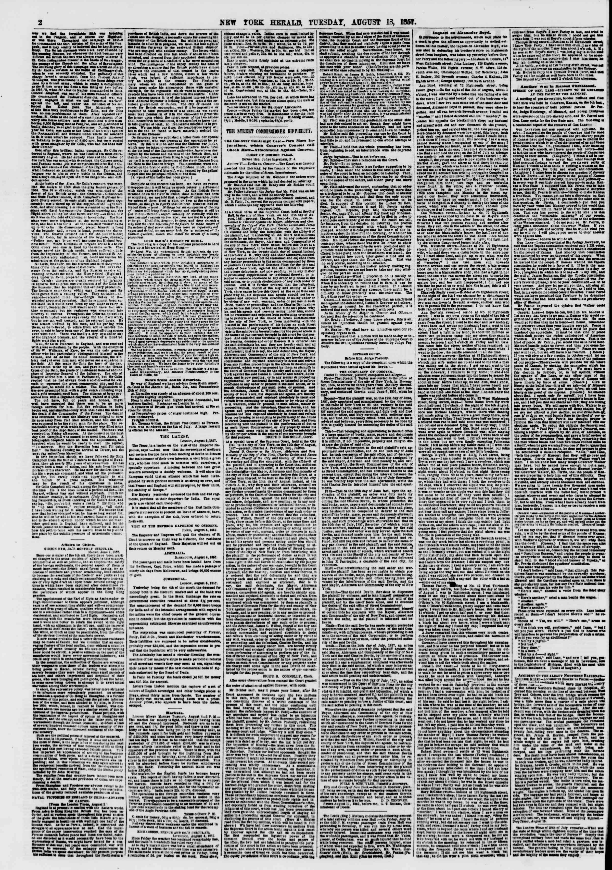 Newspaper of The New York Herald dated August 18, 1857 Page 2