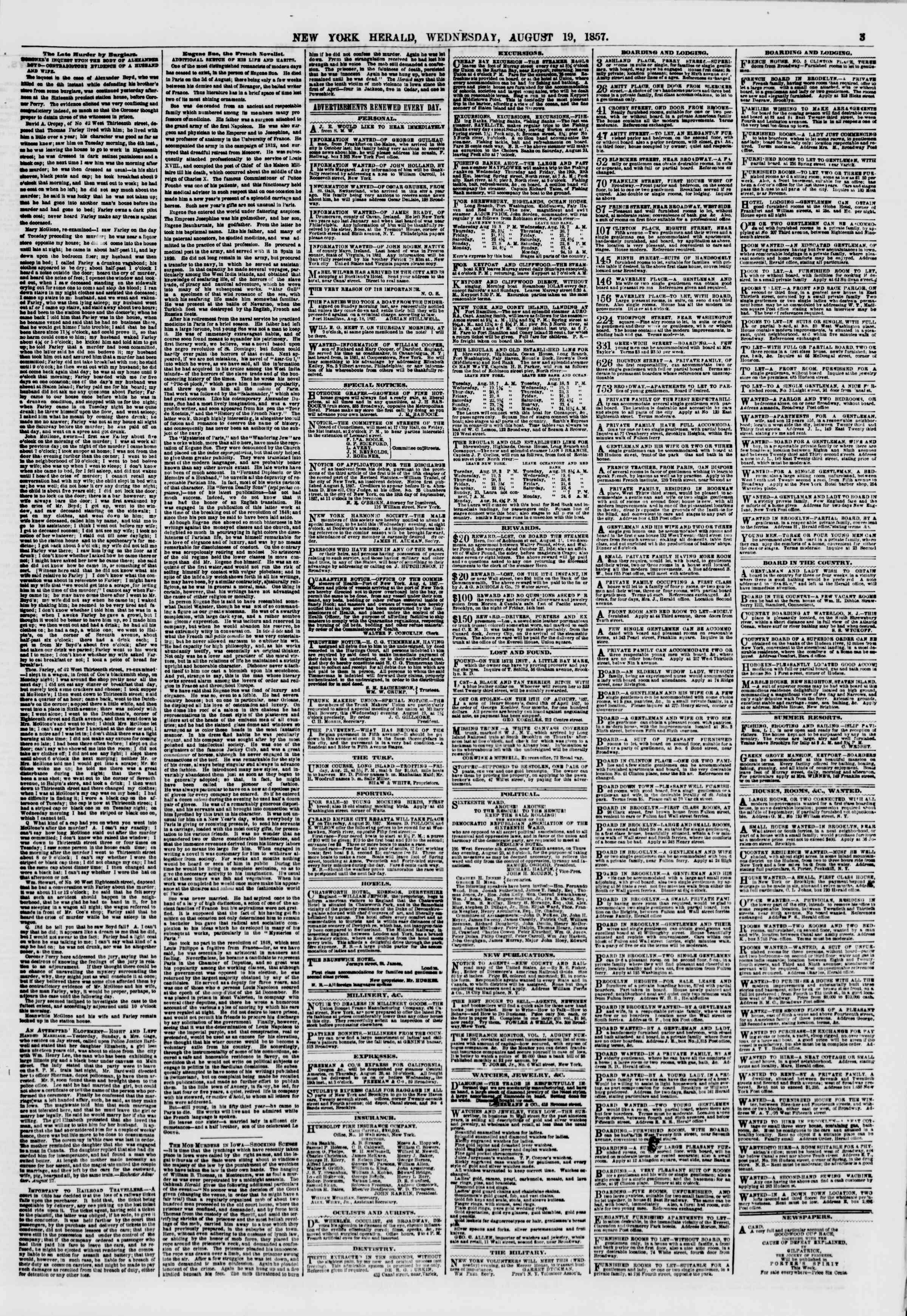 Newspaper of The New York Herald dated August 19, 1857 Page 3