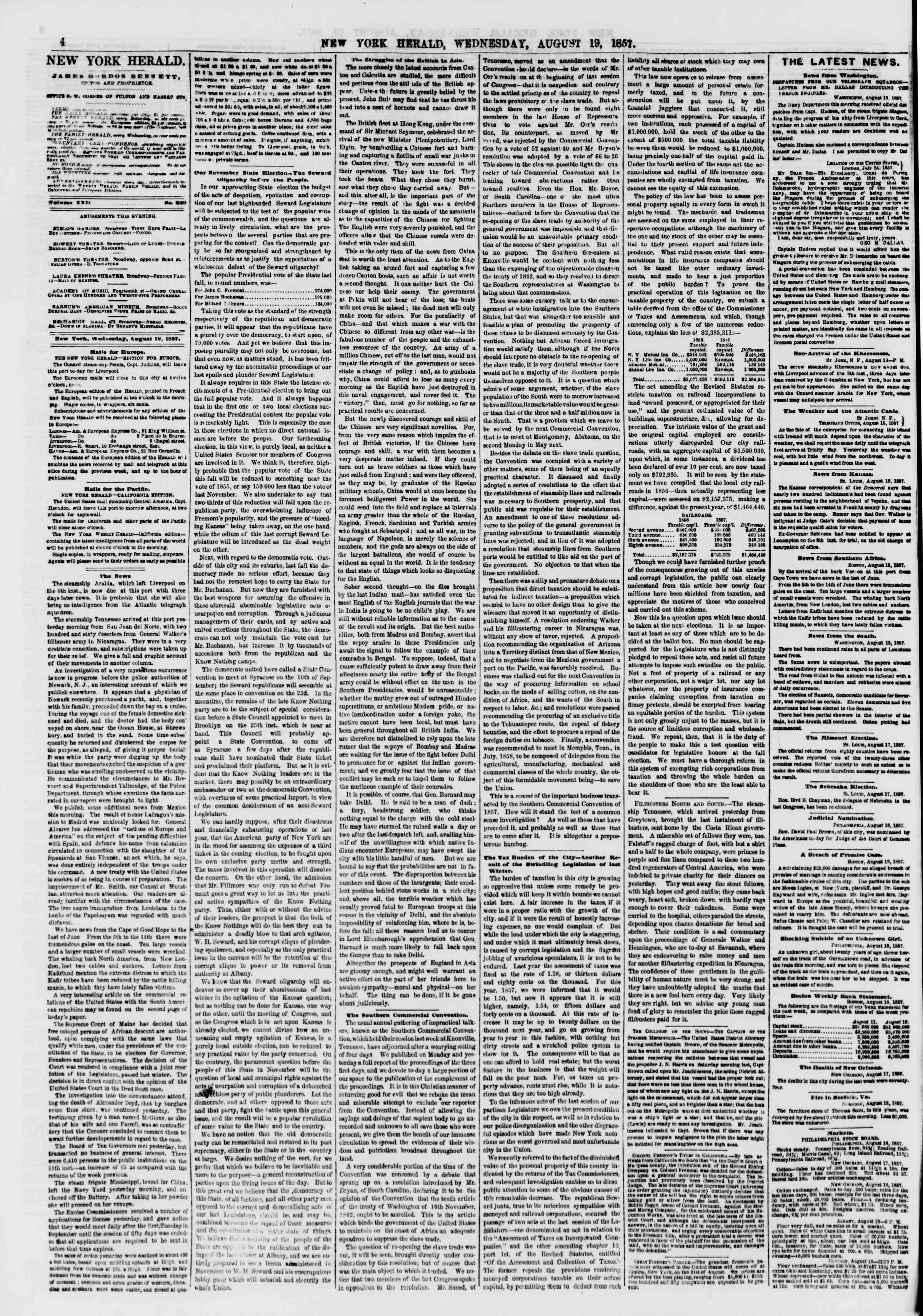 Newspaper of The New York Herald dated August 19, 1857 Page 4