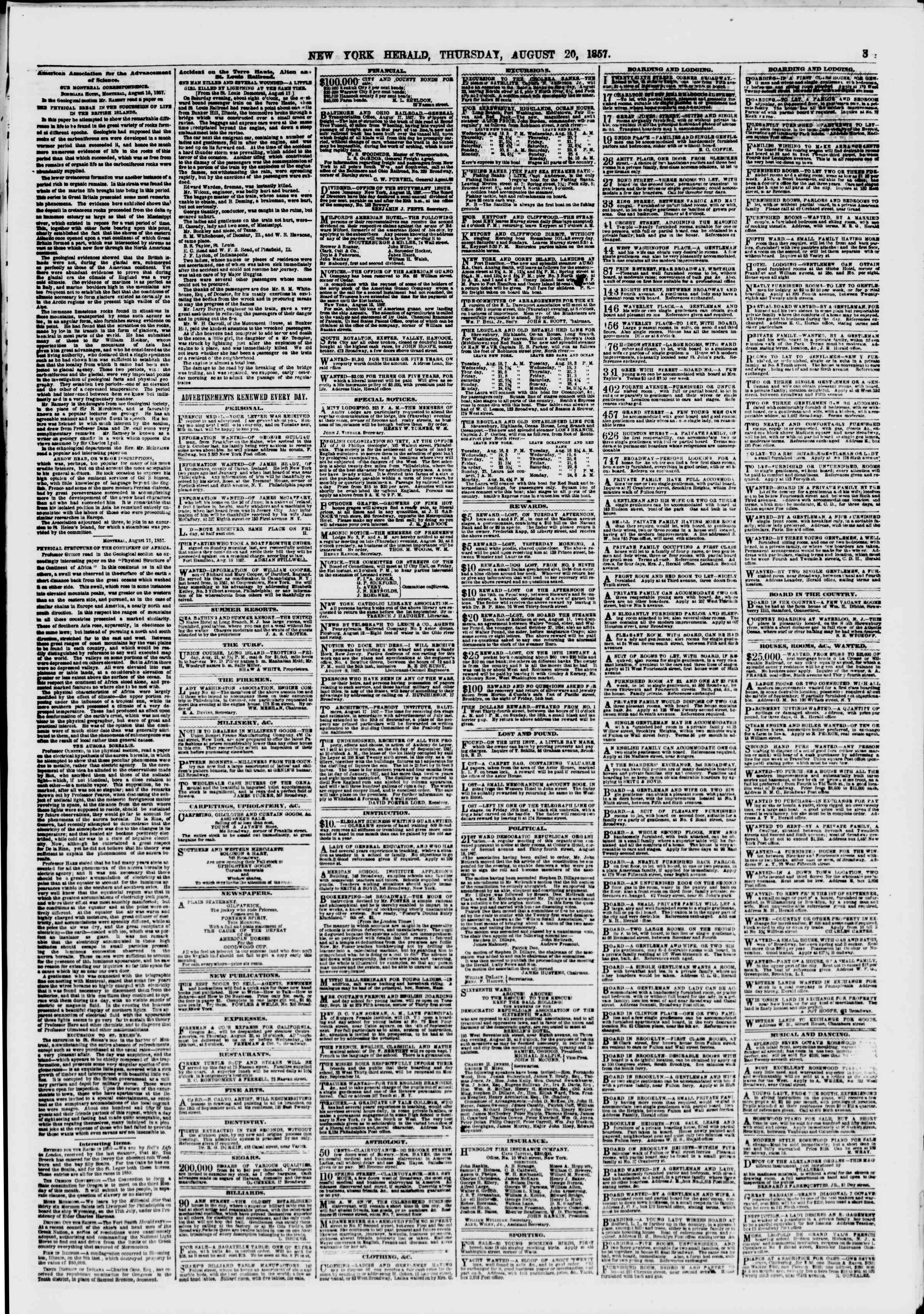 Newspaper of The New York Herald dated August 20, 1857 Page 3