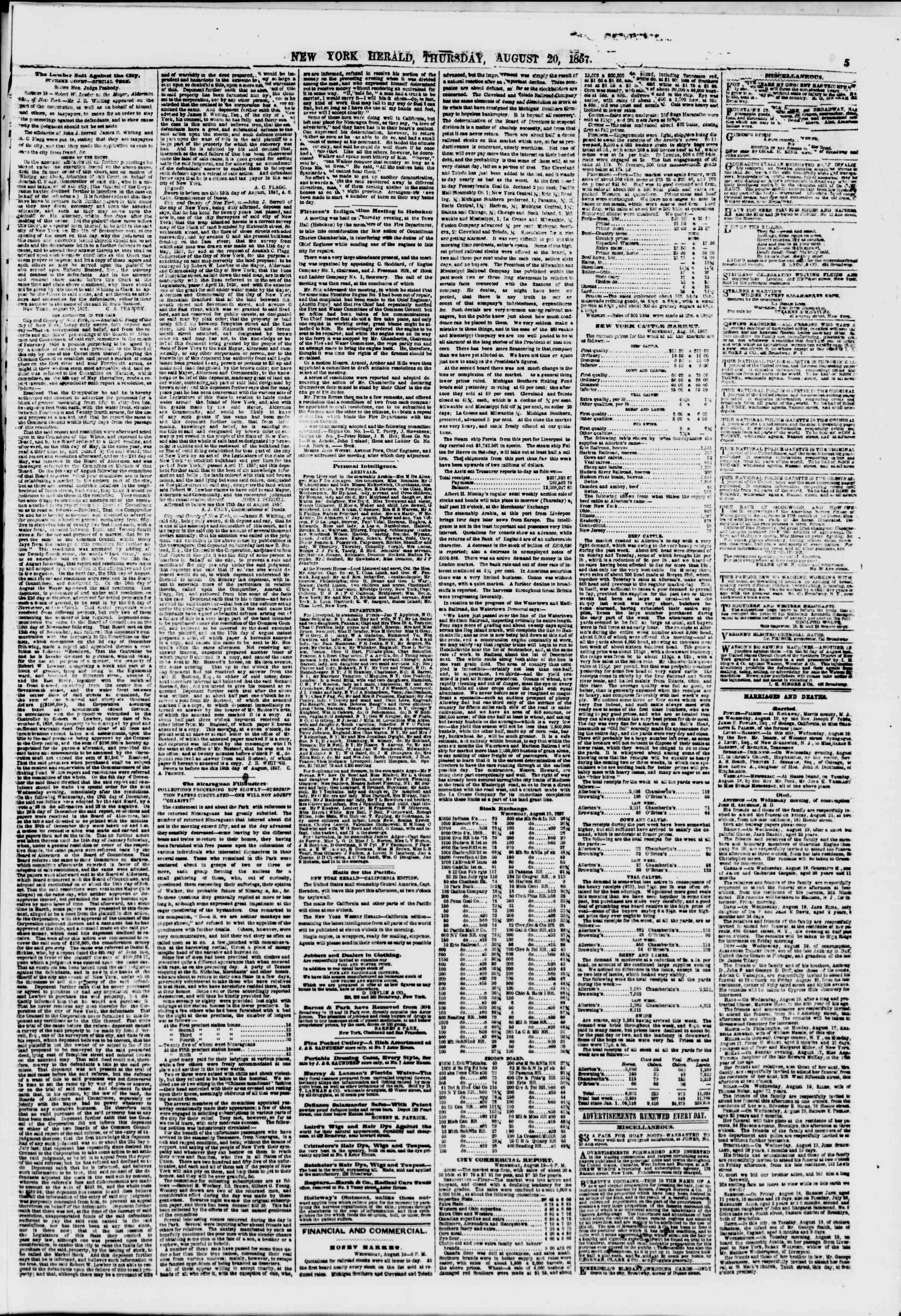 Newspaper of The New York Herald dated August 20, 1857 Page 5