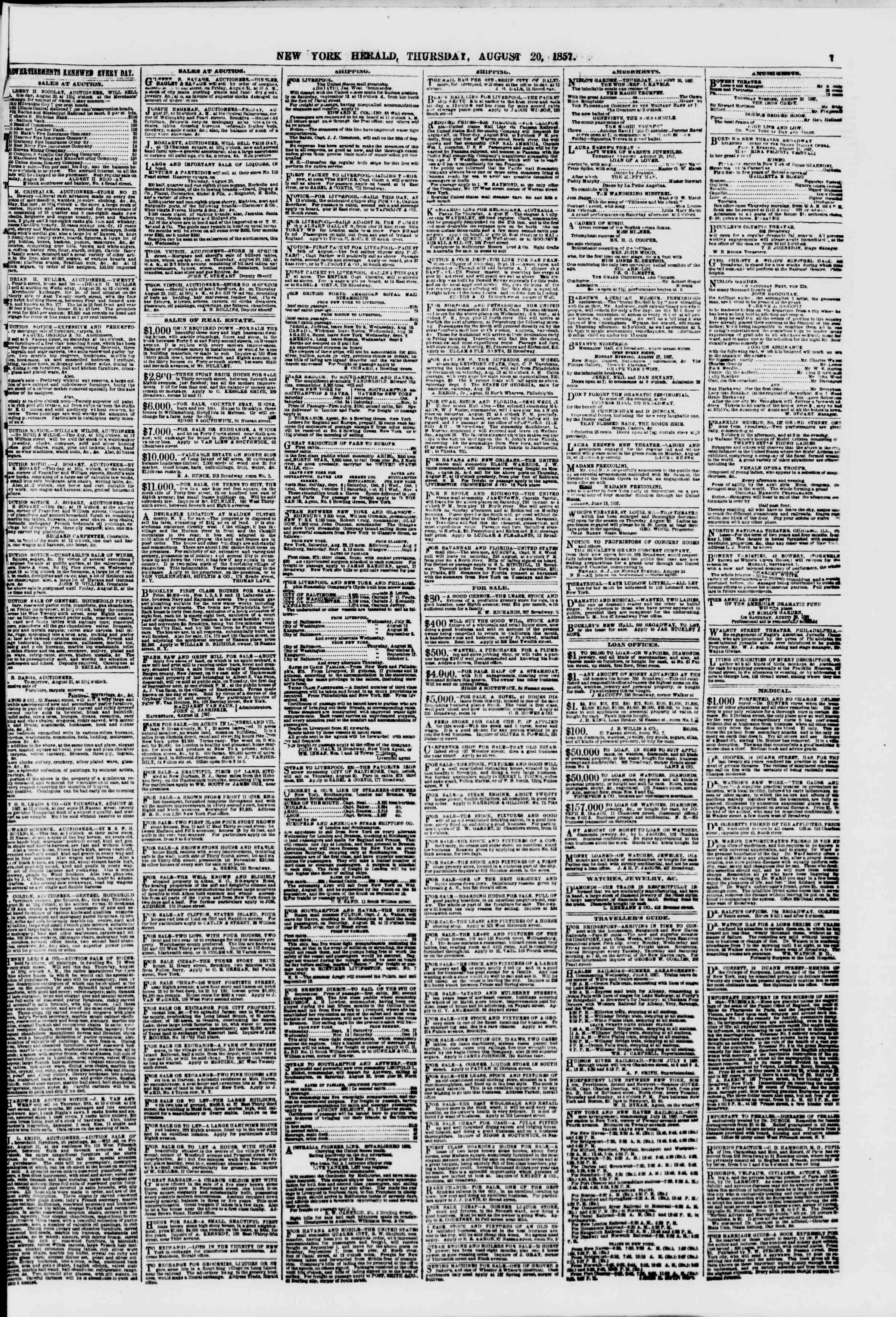 Newspaper of The New York Herald dated August 20, 1857 Page 7