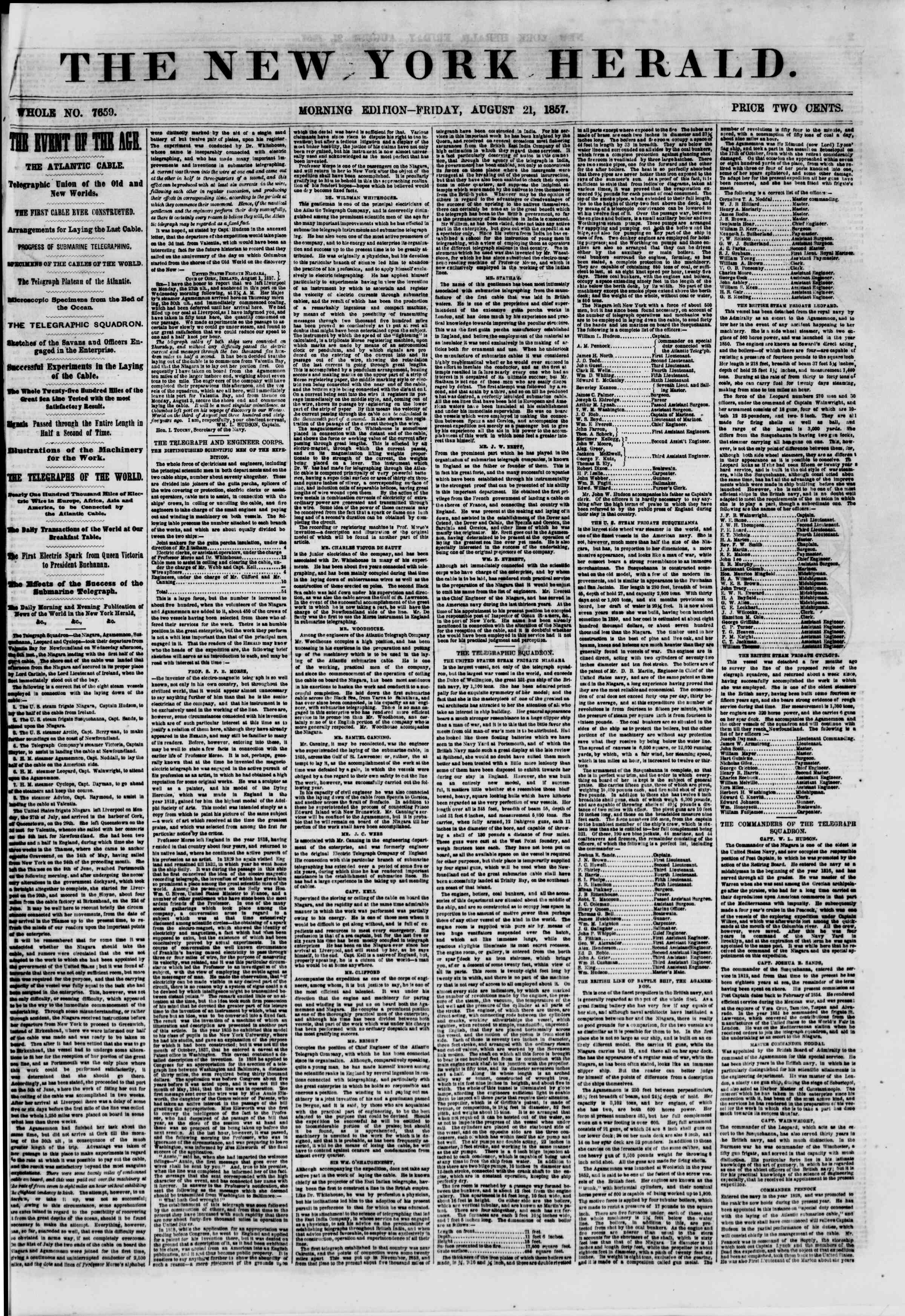 Newspaper of The New York Herald dated August 21, 1857 Page 1