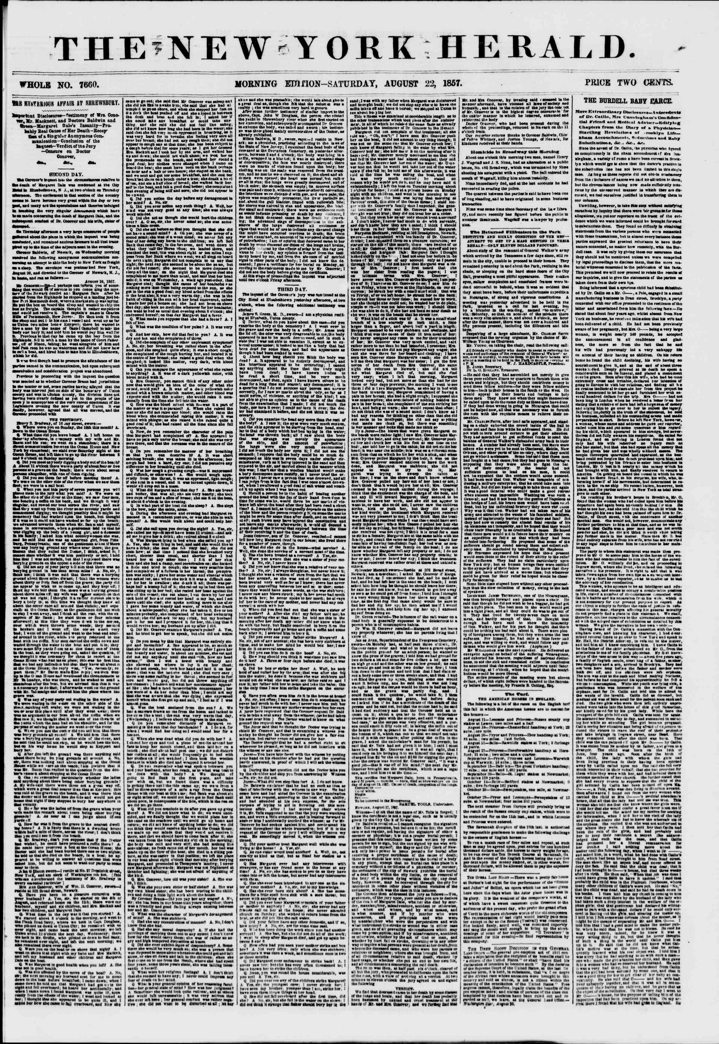 Newspaper of The New York Herald dated August 22, 1857 Page 1