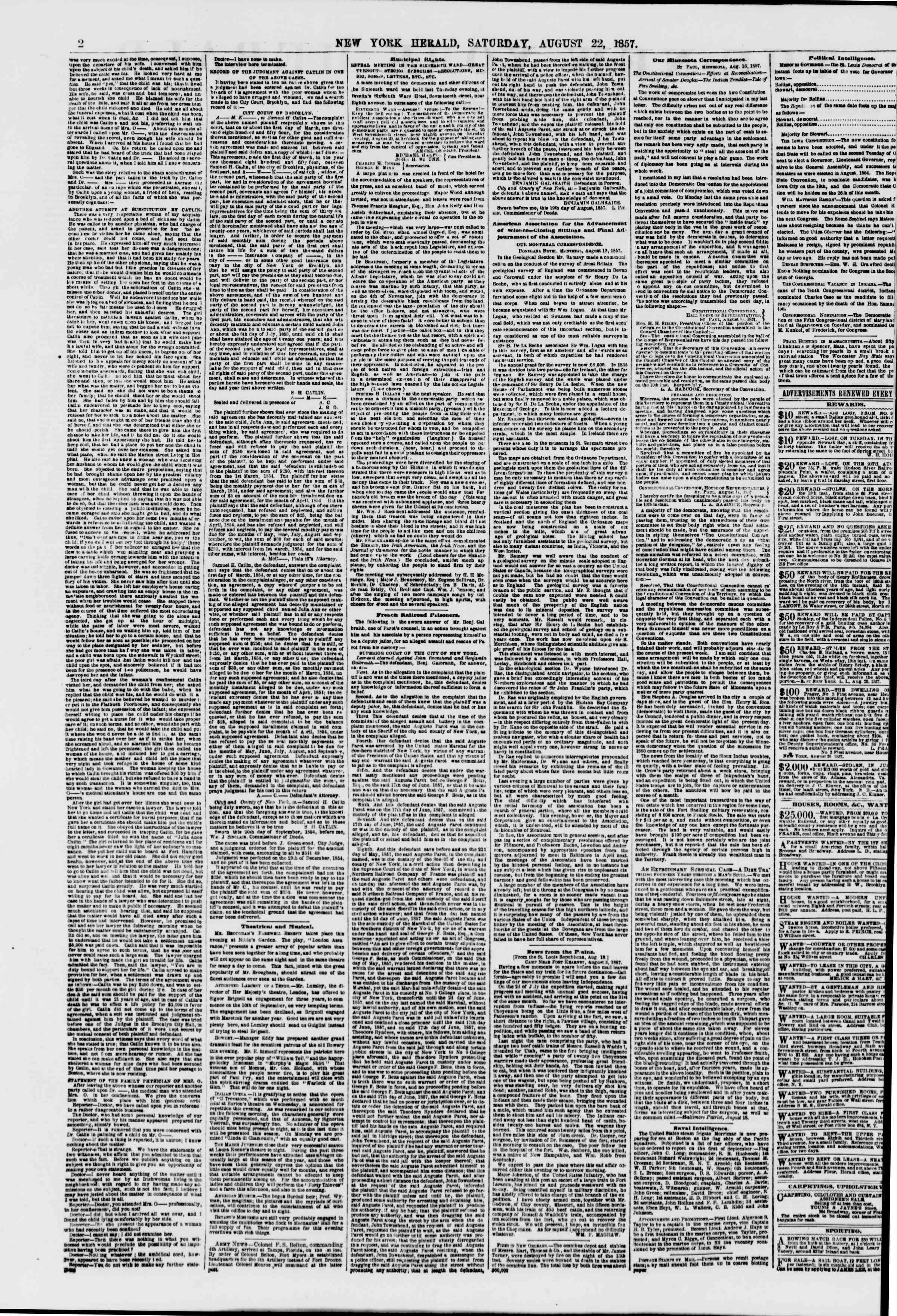 Newspaper of The New York Herald dated August 22, 1857 Page 2