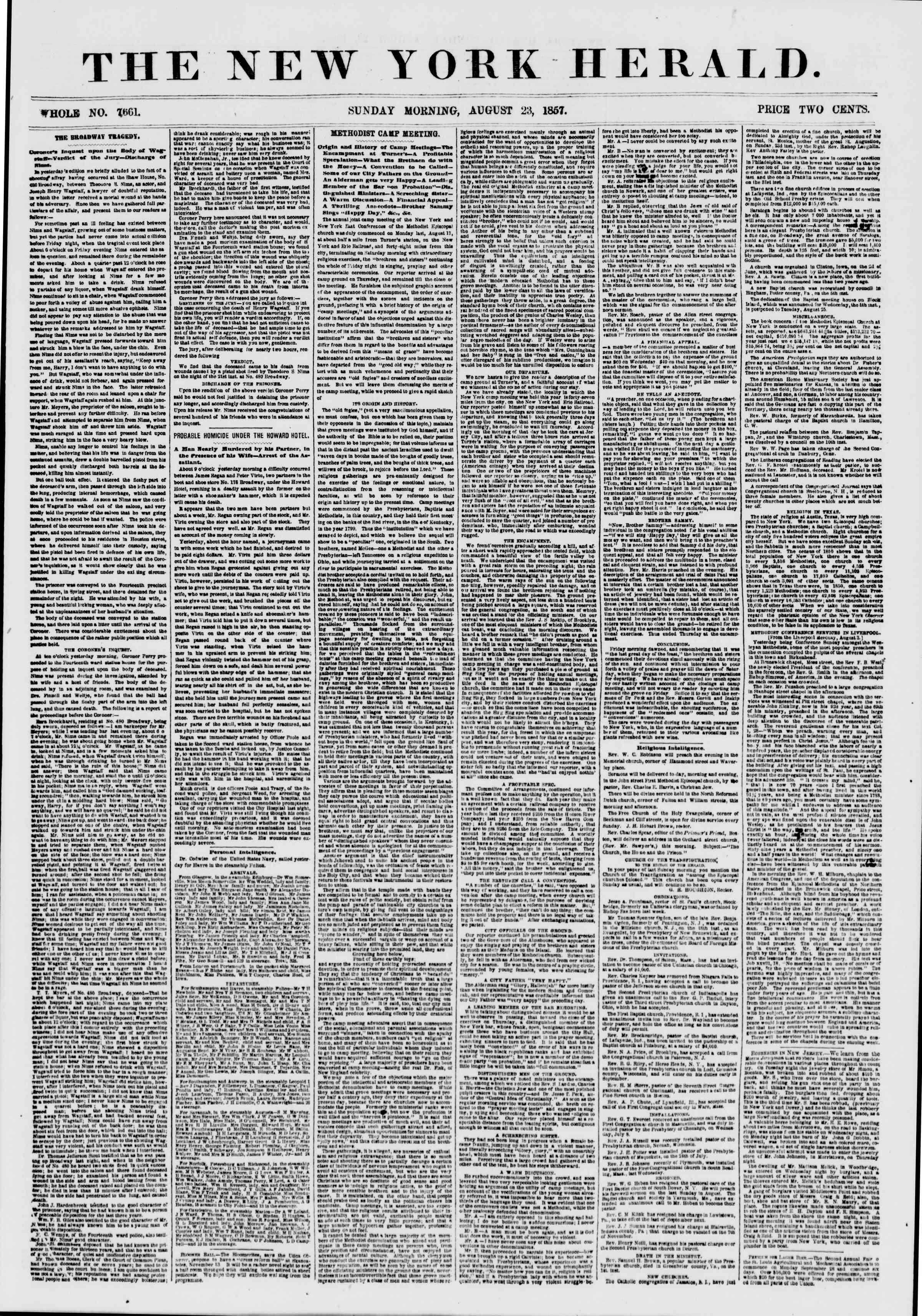 Newspaper of The New York Herald dated August 23, 1857 Page 1