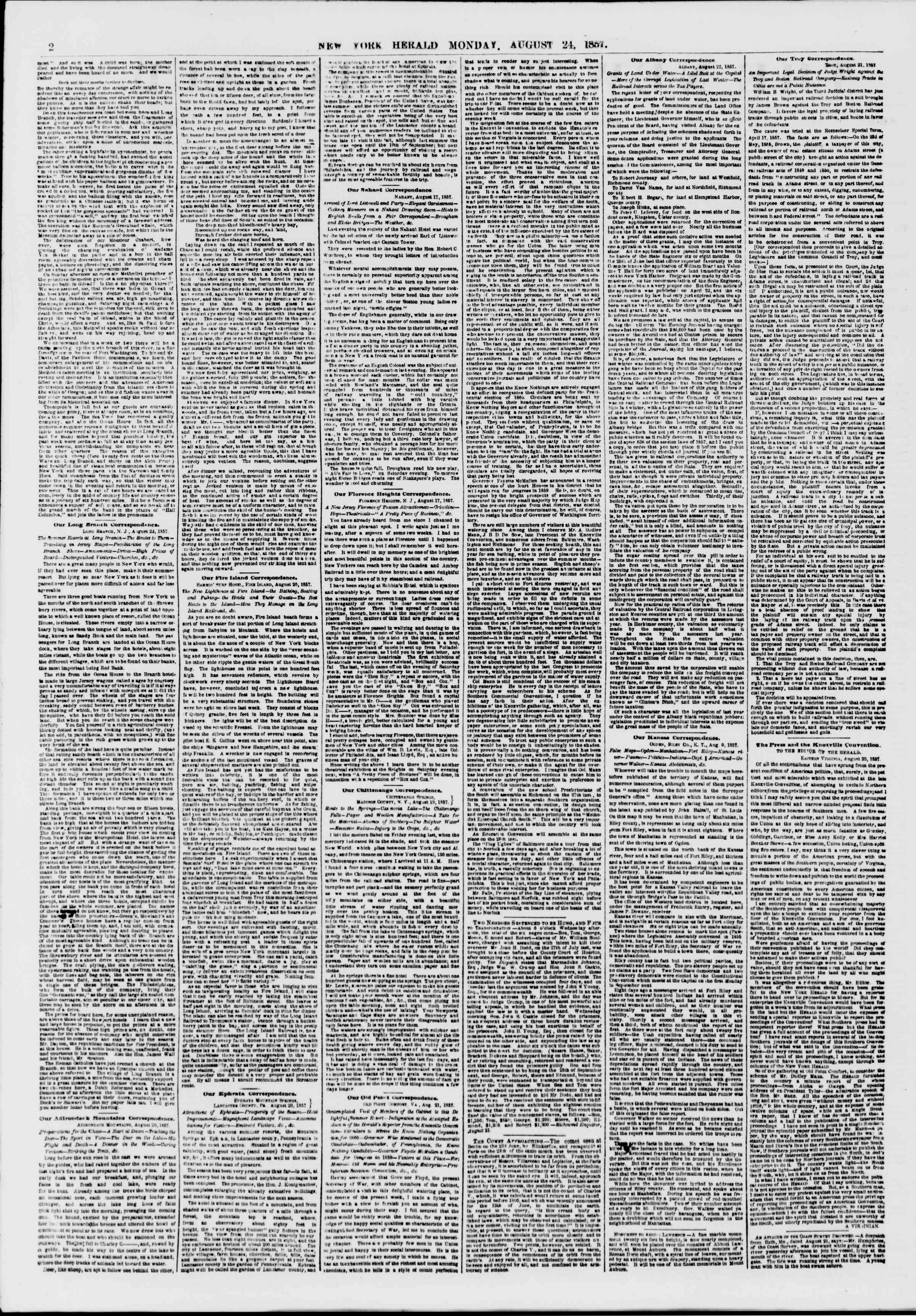 Newspaper of The New York Herald dated August 24, 1857 Page 2
