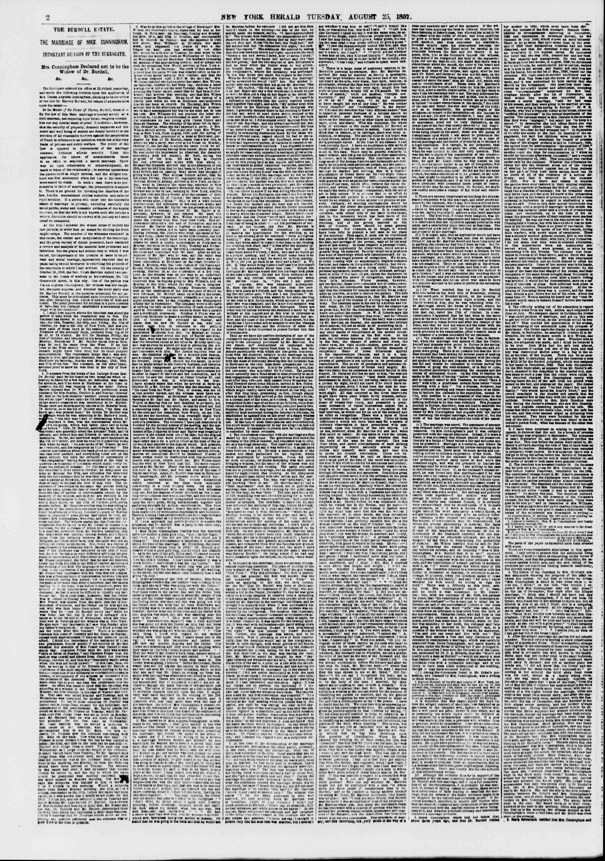 Newspaper of The New York Herald dated August 25, 1857 Page 2