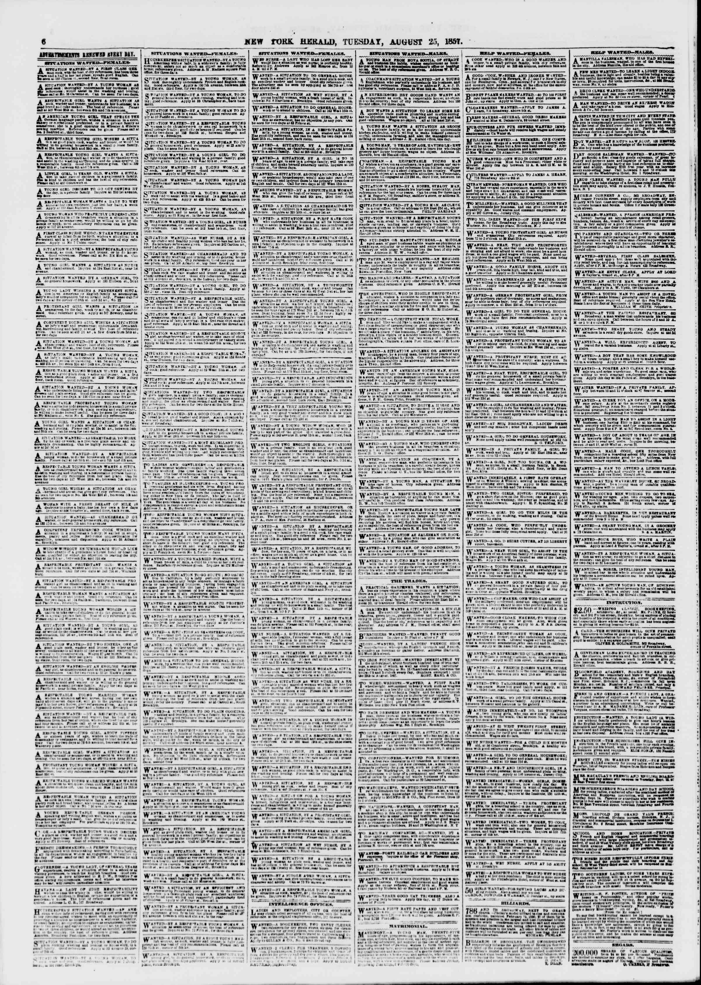Newspaper of The New York Herald dated August 25, 1857 Page 6