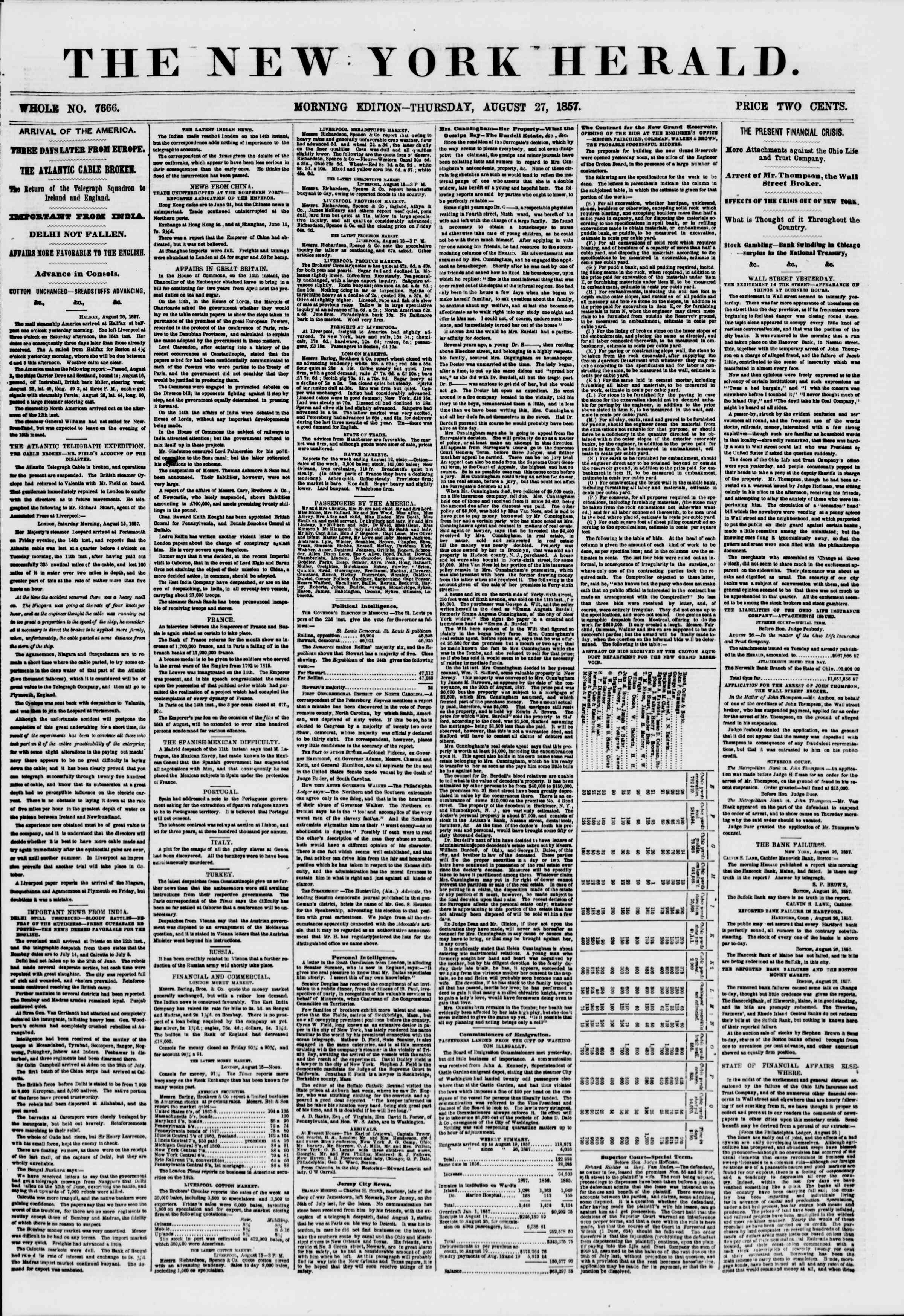 Newspaper of The New York Herald dated August 27, 1857 Page 1