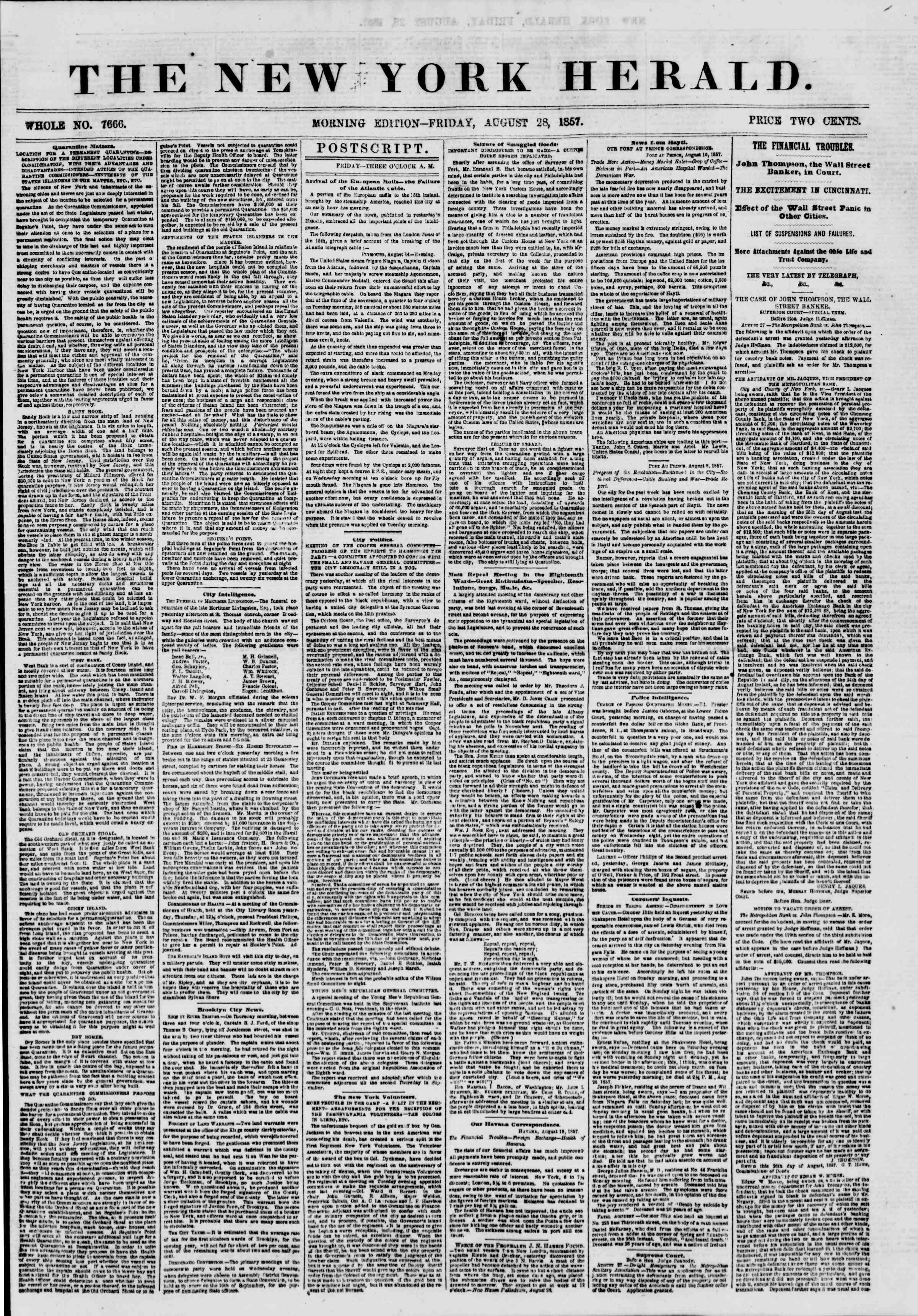 Newspaper of The New York Herald dated August 28, 1857 Page 1