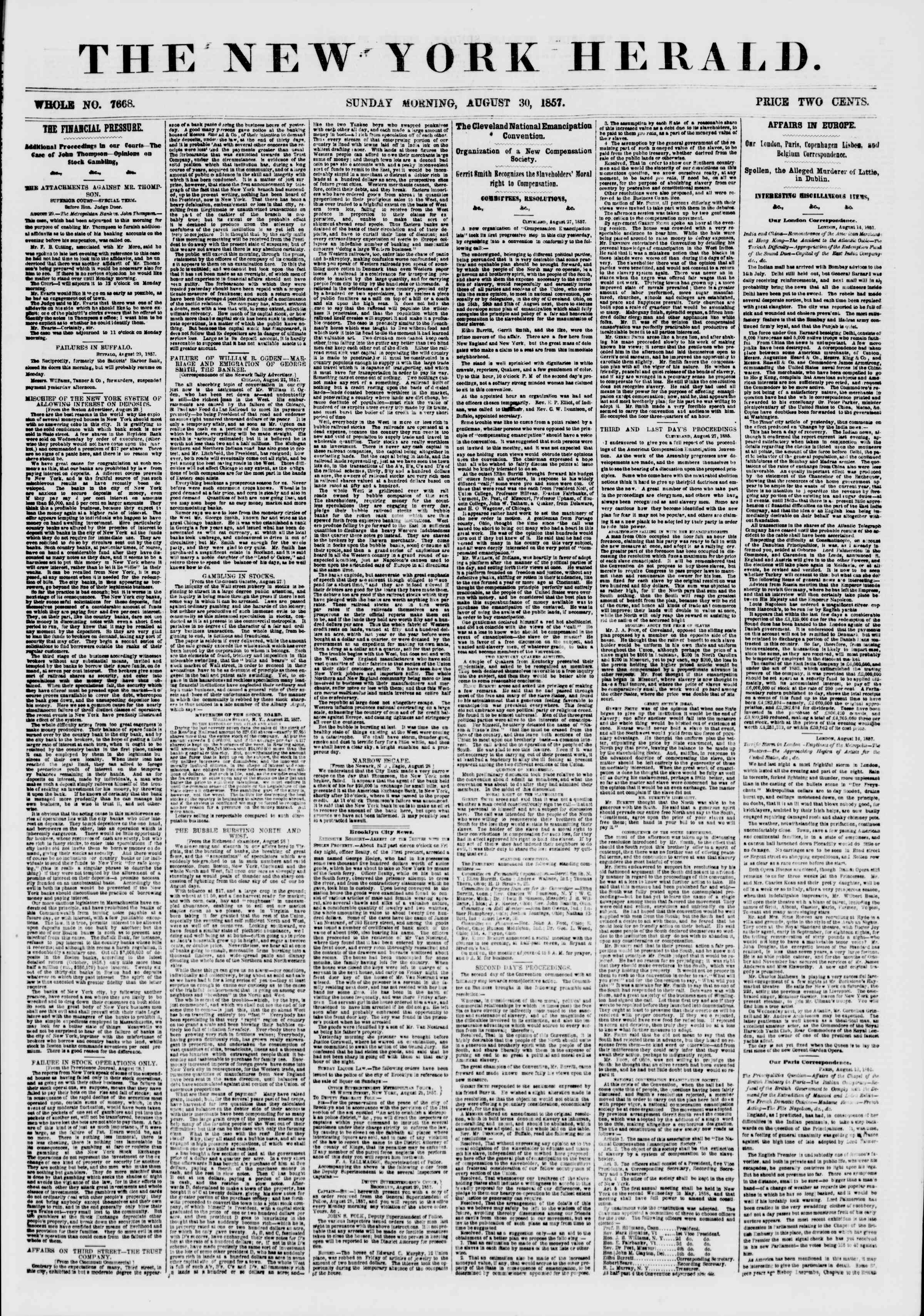Newspaper of The New York Herald dated August 30, 1857 Page 1