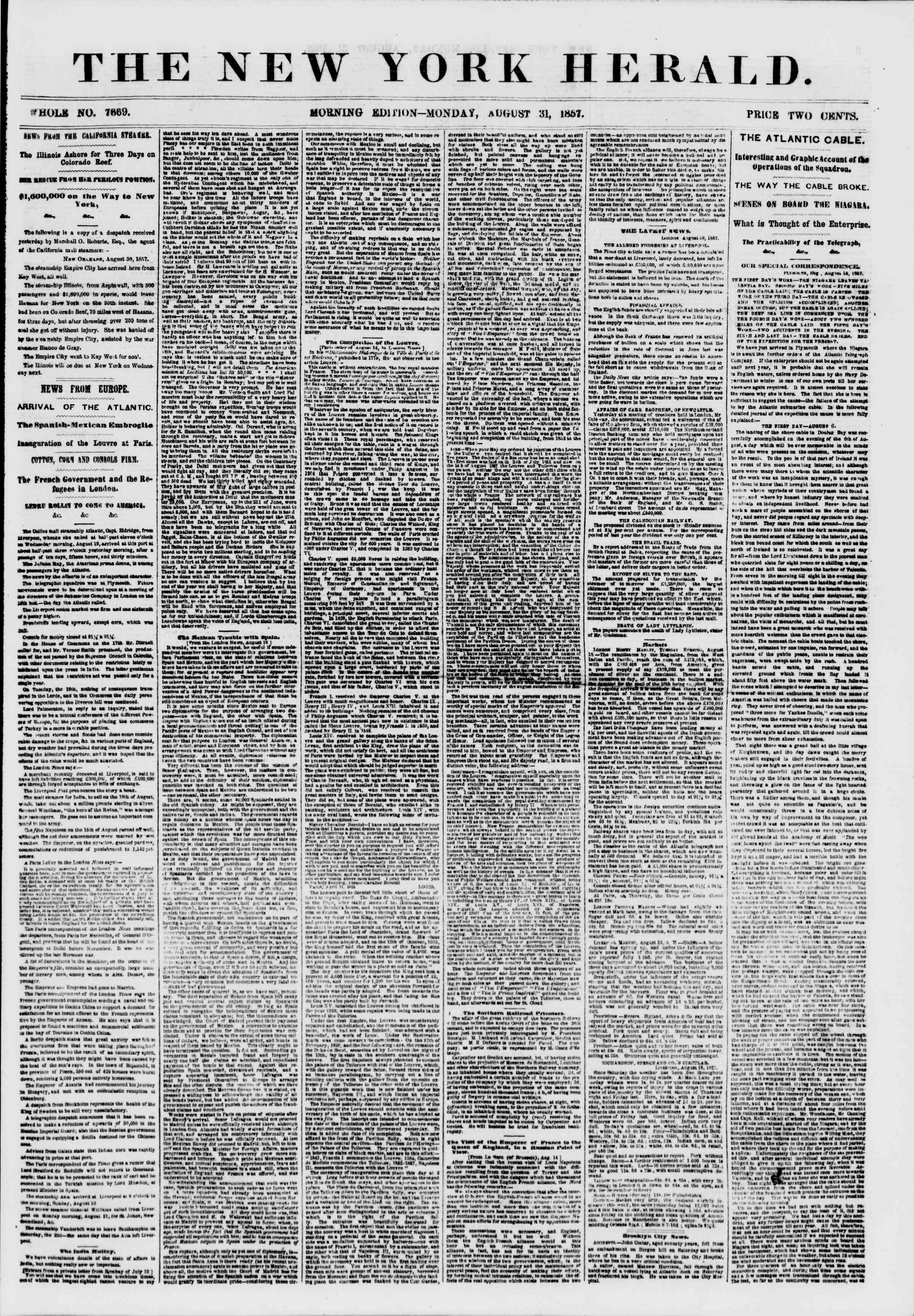 Newspaper of The New York Herald dated August 31, 1857 Page 1