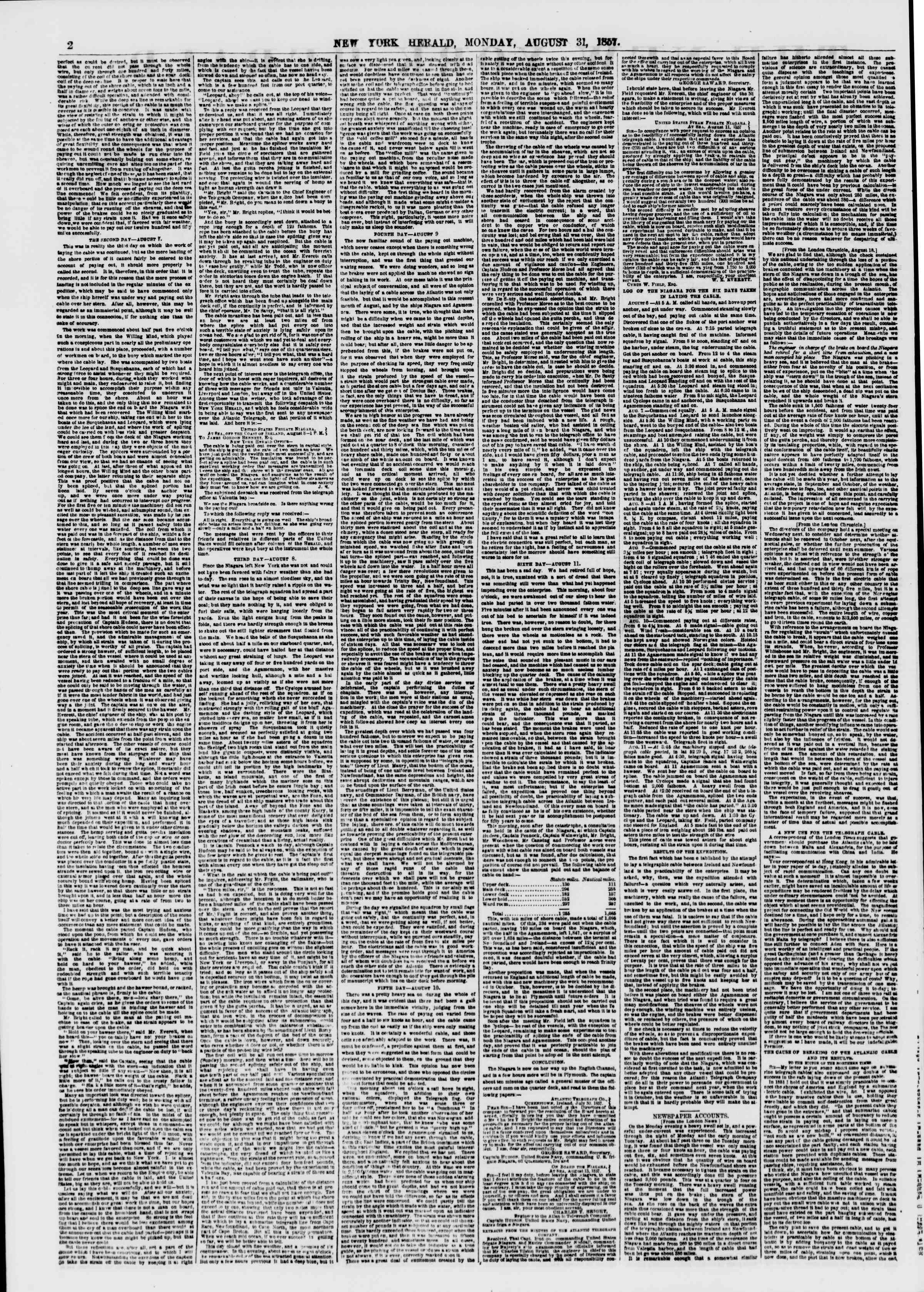 Newspaper of The New York Herald dated August 31, 1857 Page 2