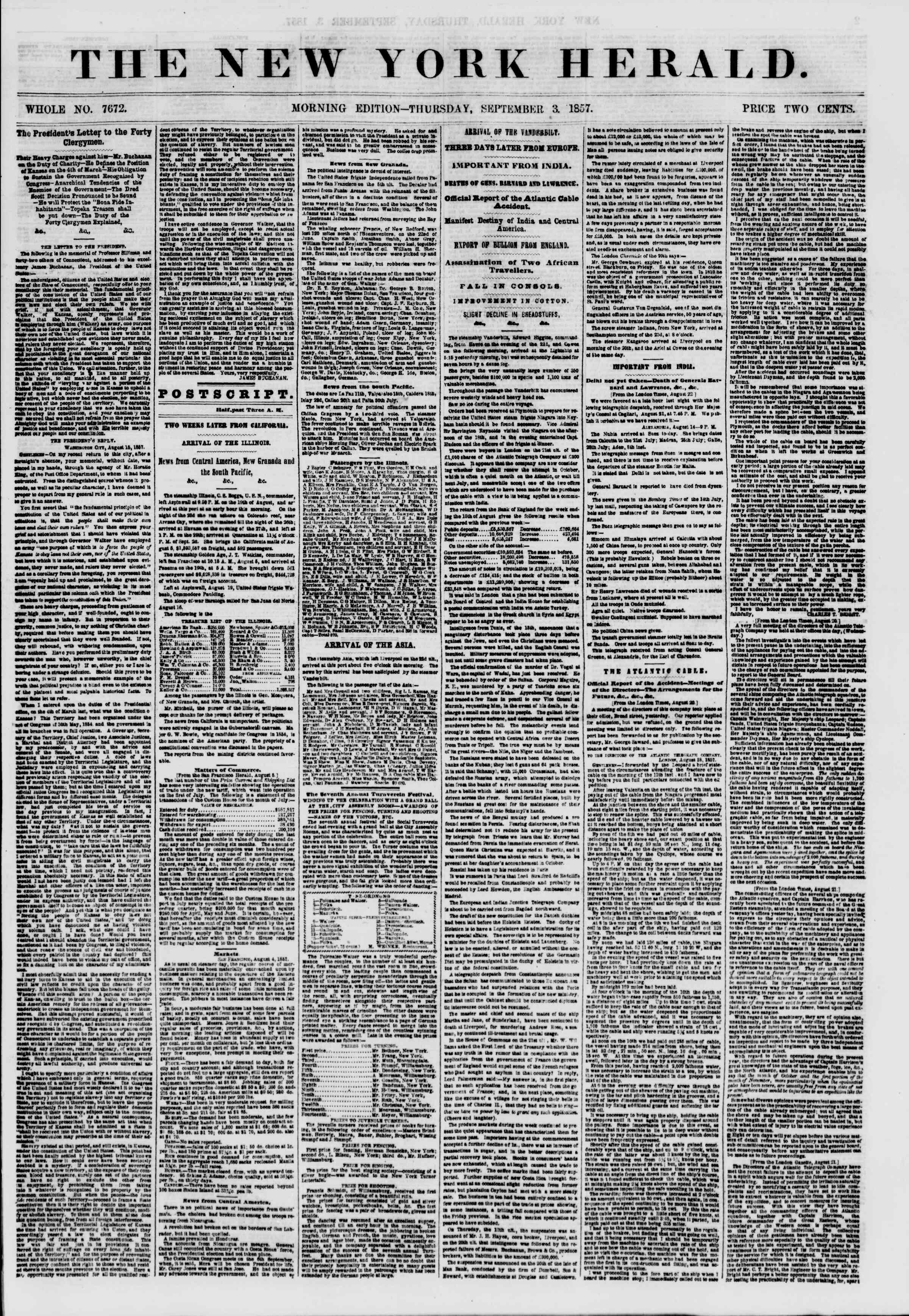 Newspaper of The New York Herald dated September 3, 1857 Page 1