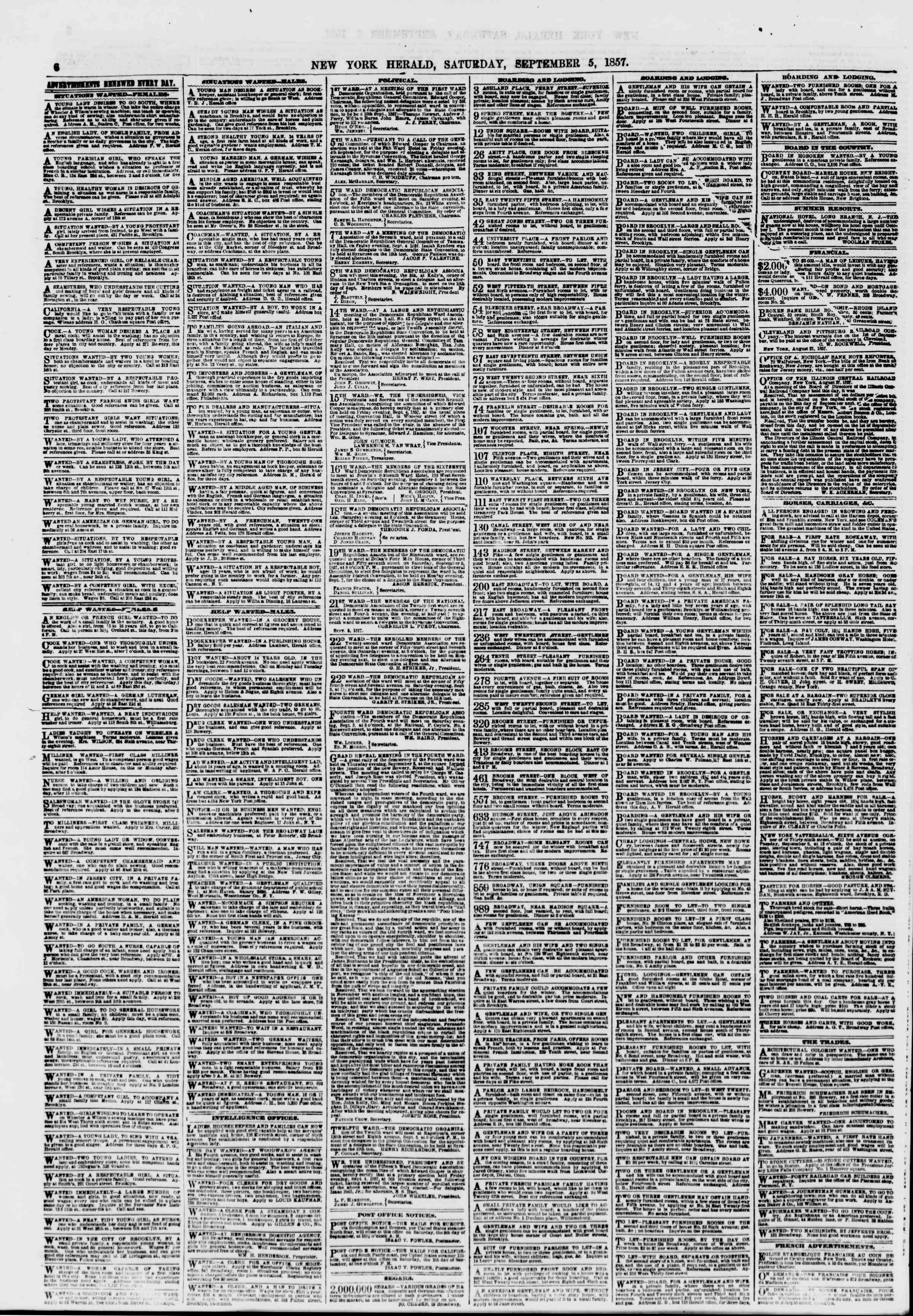 Newspaper of The New York Herald dated September 5, 1857 Page 6