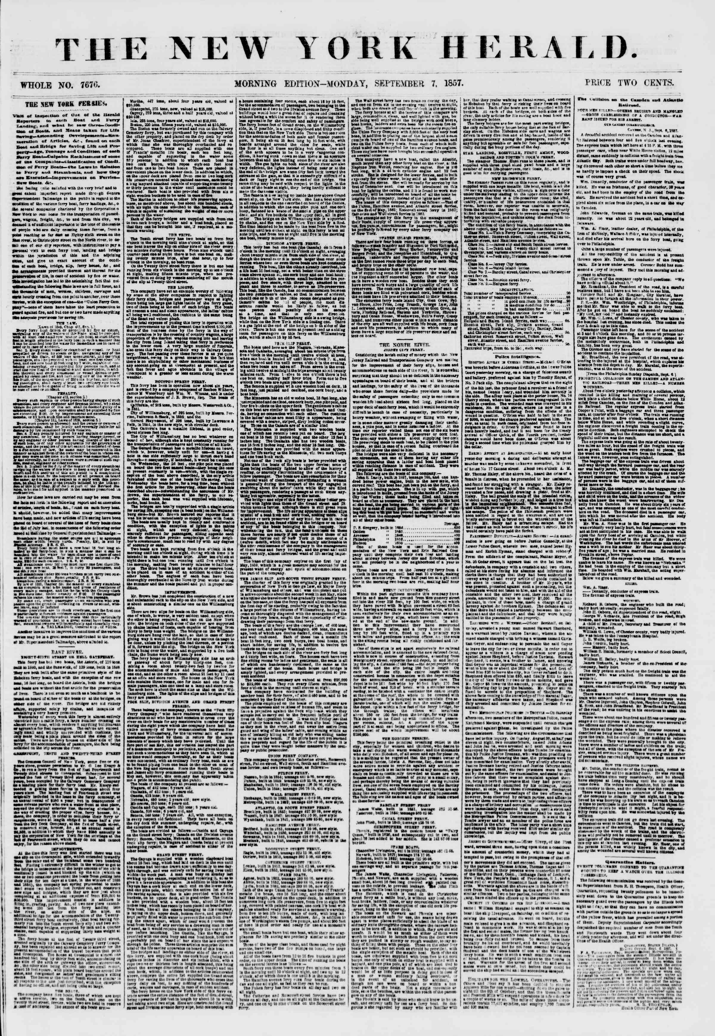 Newspaper of The New York Herald dated September 7, 1857 Page 1