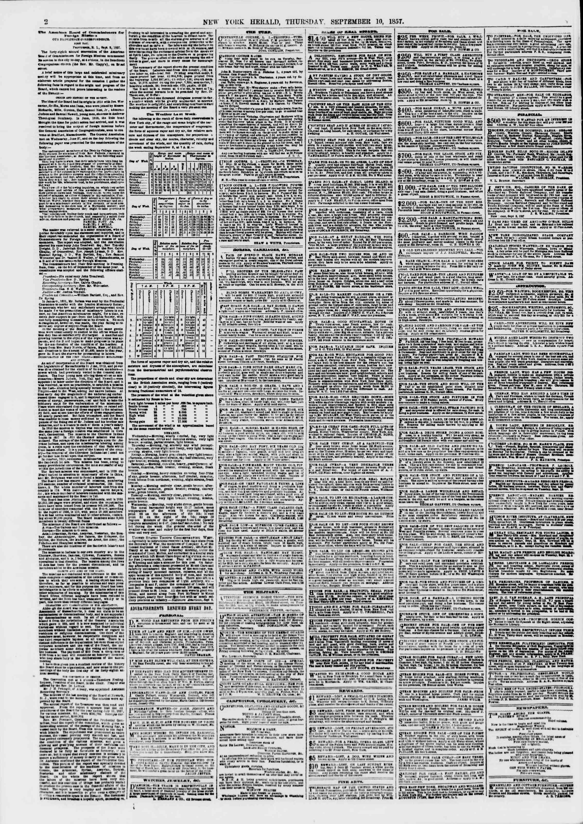 10 Eylül 1857 tarihli The New York Herald Gazetesi Sayfa 2