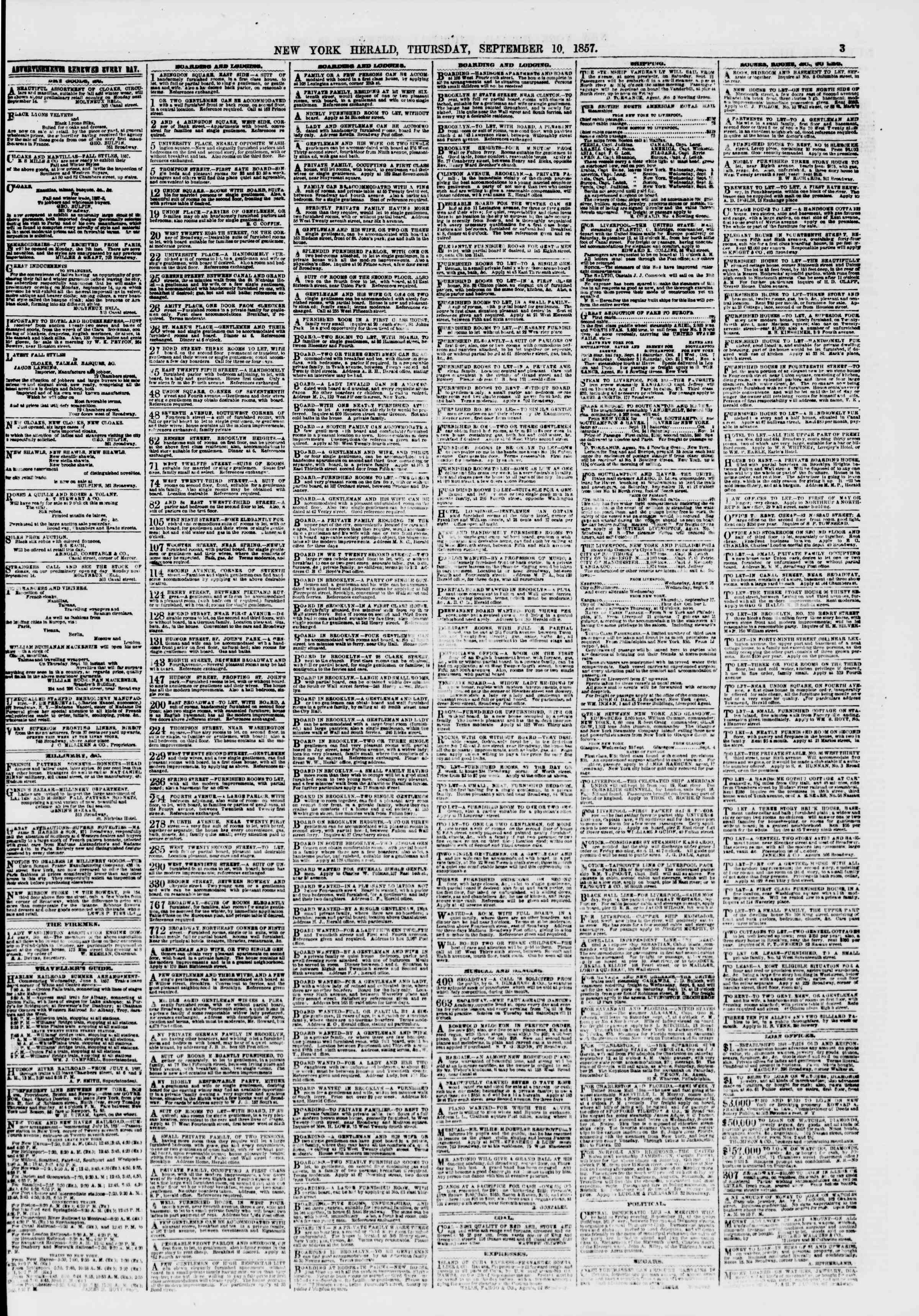 Newspaper of The New York Herald dated September 10, 1857 Page 3