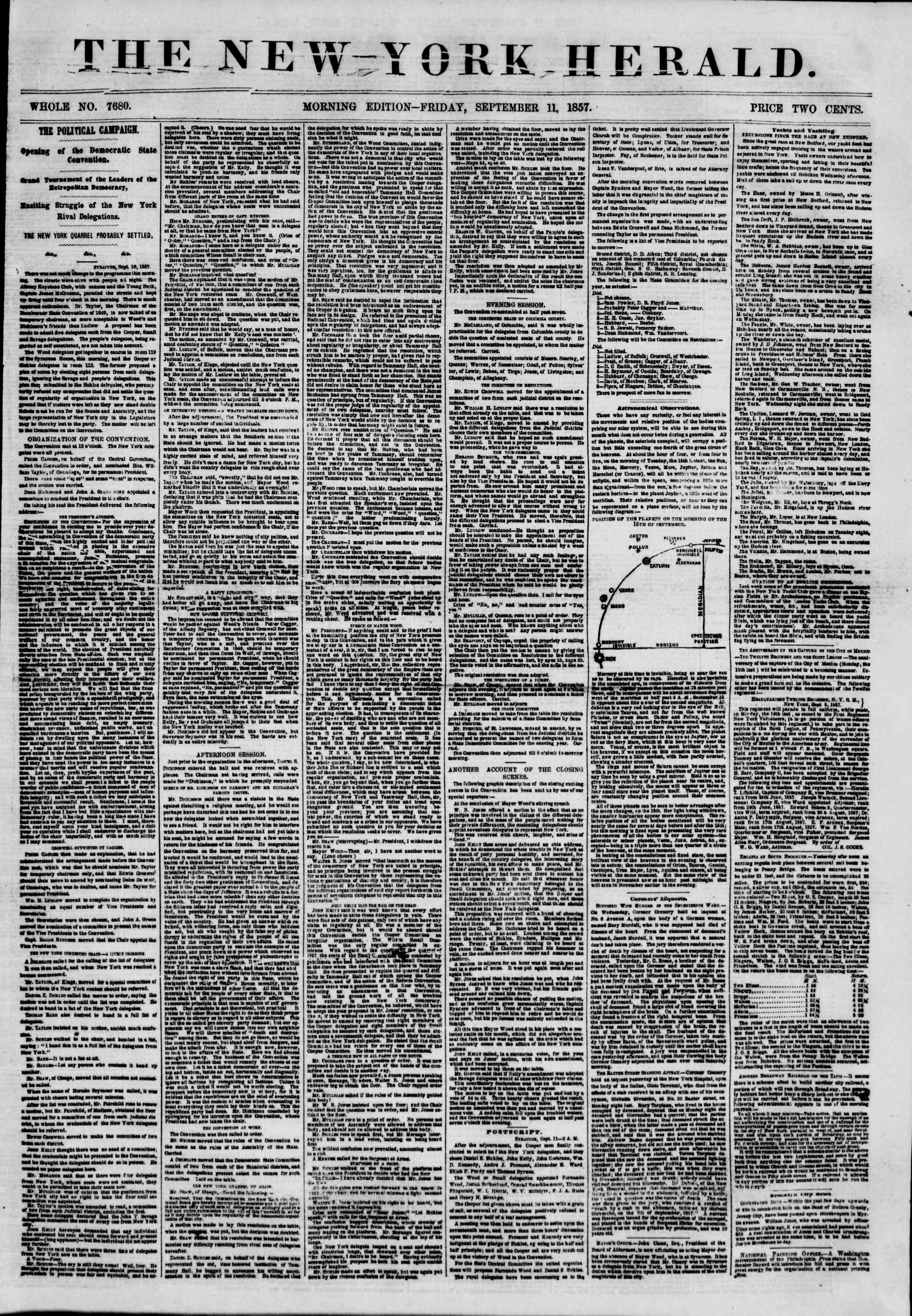 Newspaper of The New York Herald dated September 11, 1857 Page 1