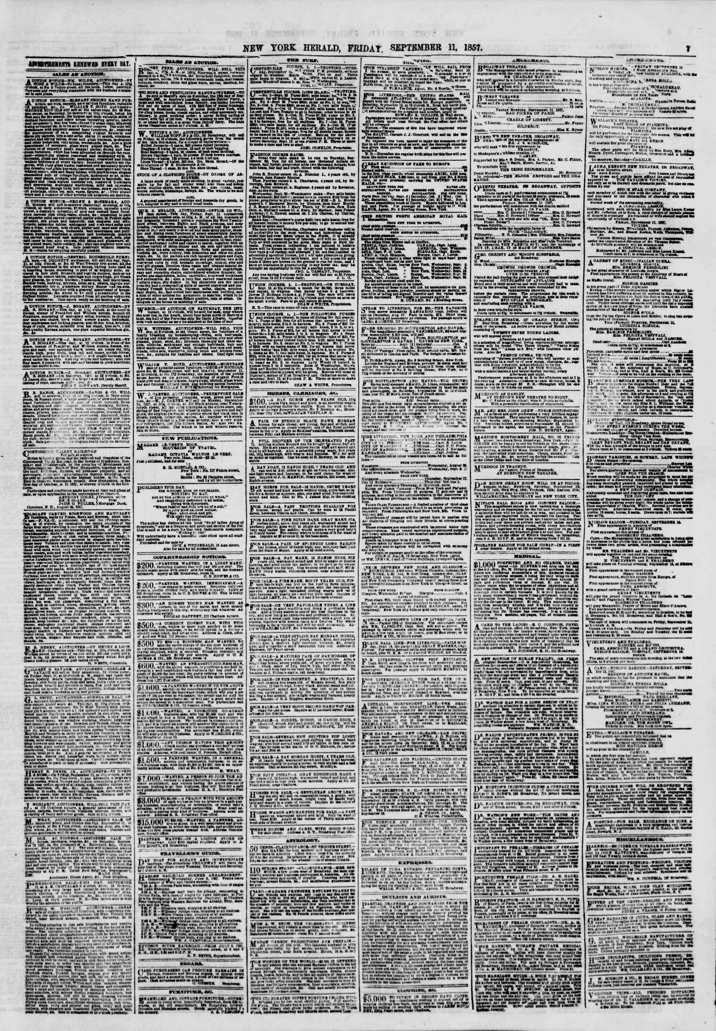 Newspaper of The New York Herald dated September 11, 1857 Page 7