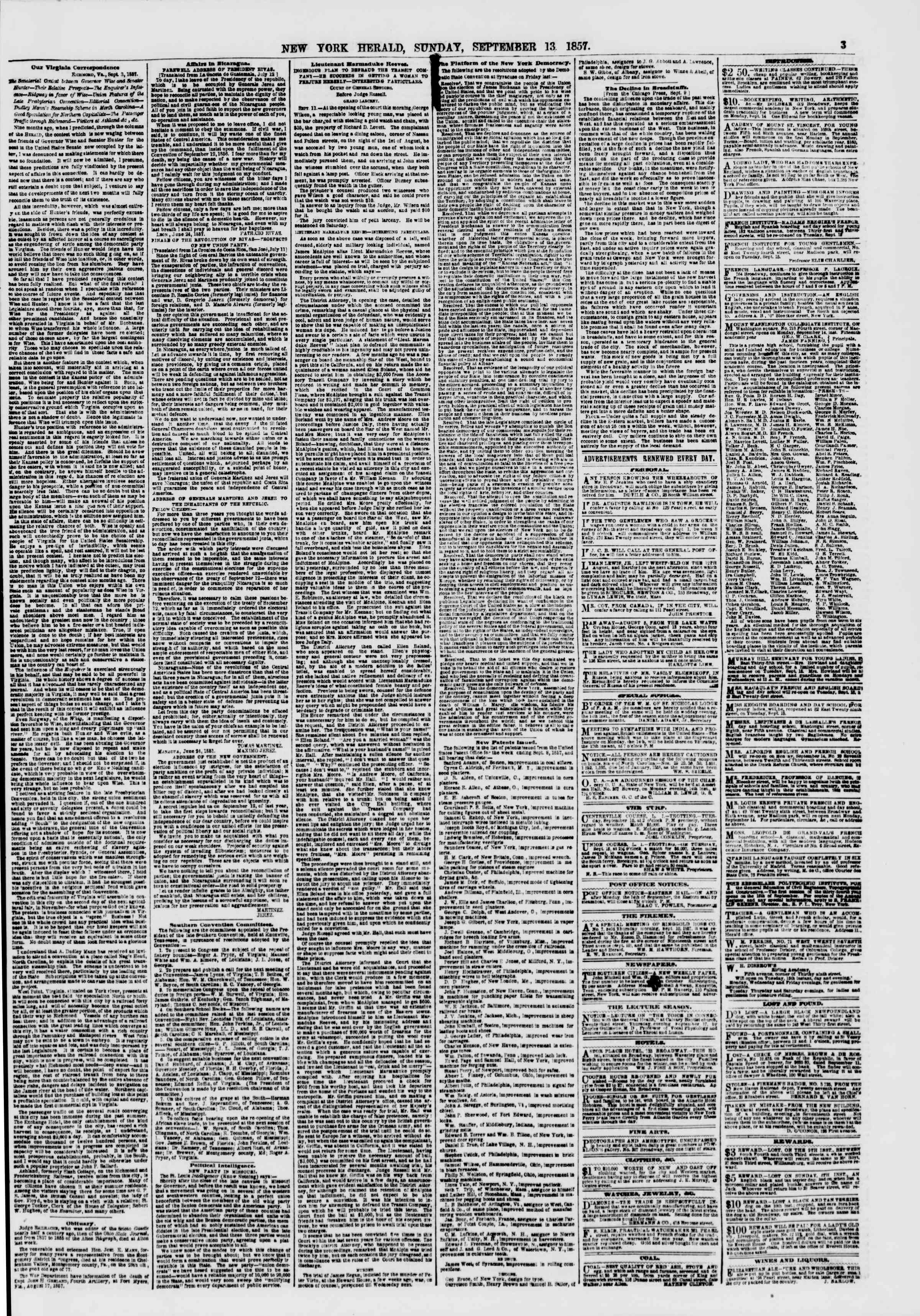 Newspaper of The New York Herald dated September 13, 1857 Page 3